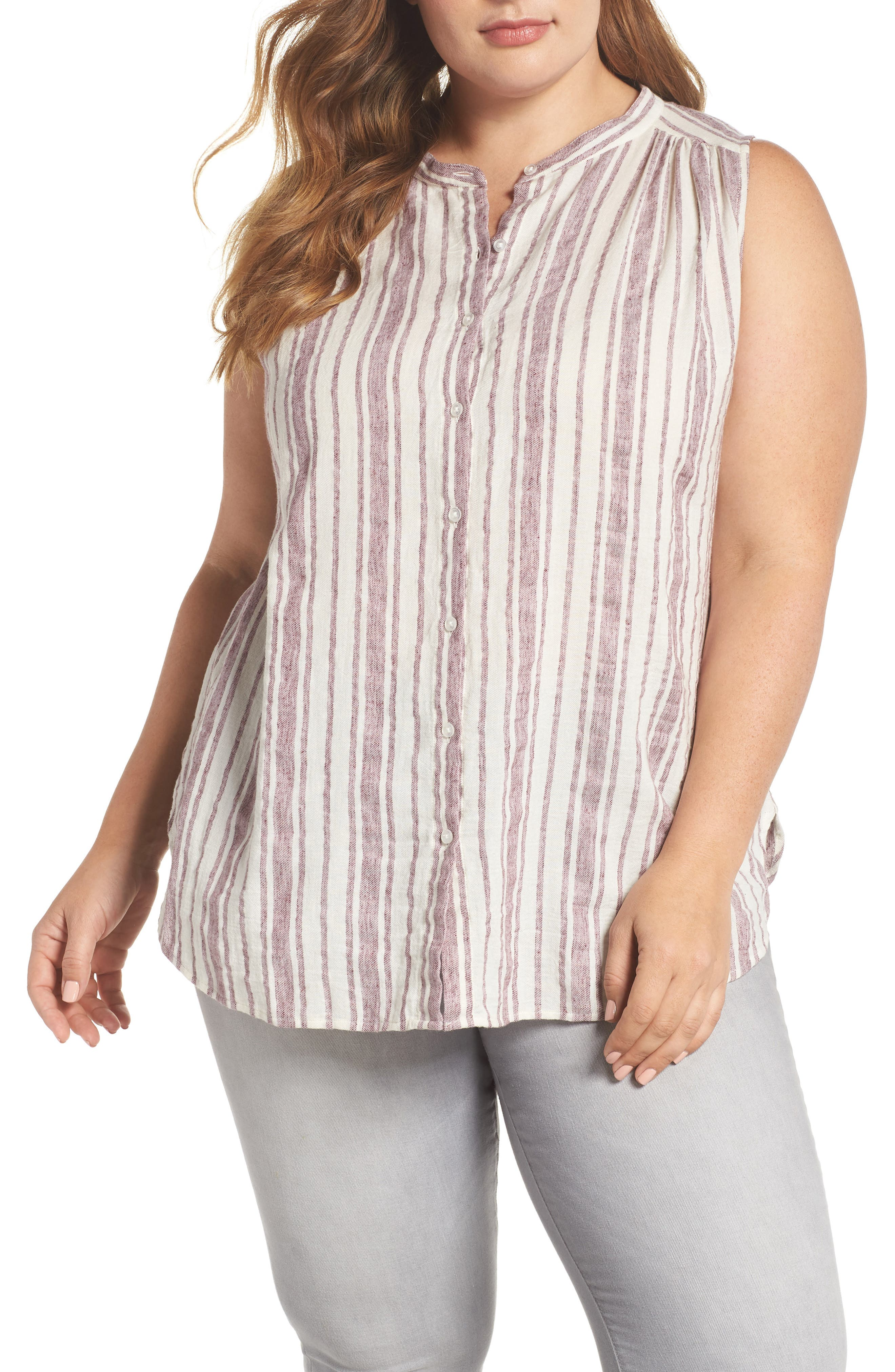Stripe Tunic,                             Main thumbnail 1, color,                             Raspberry Multi