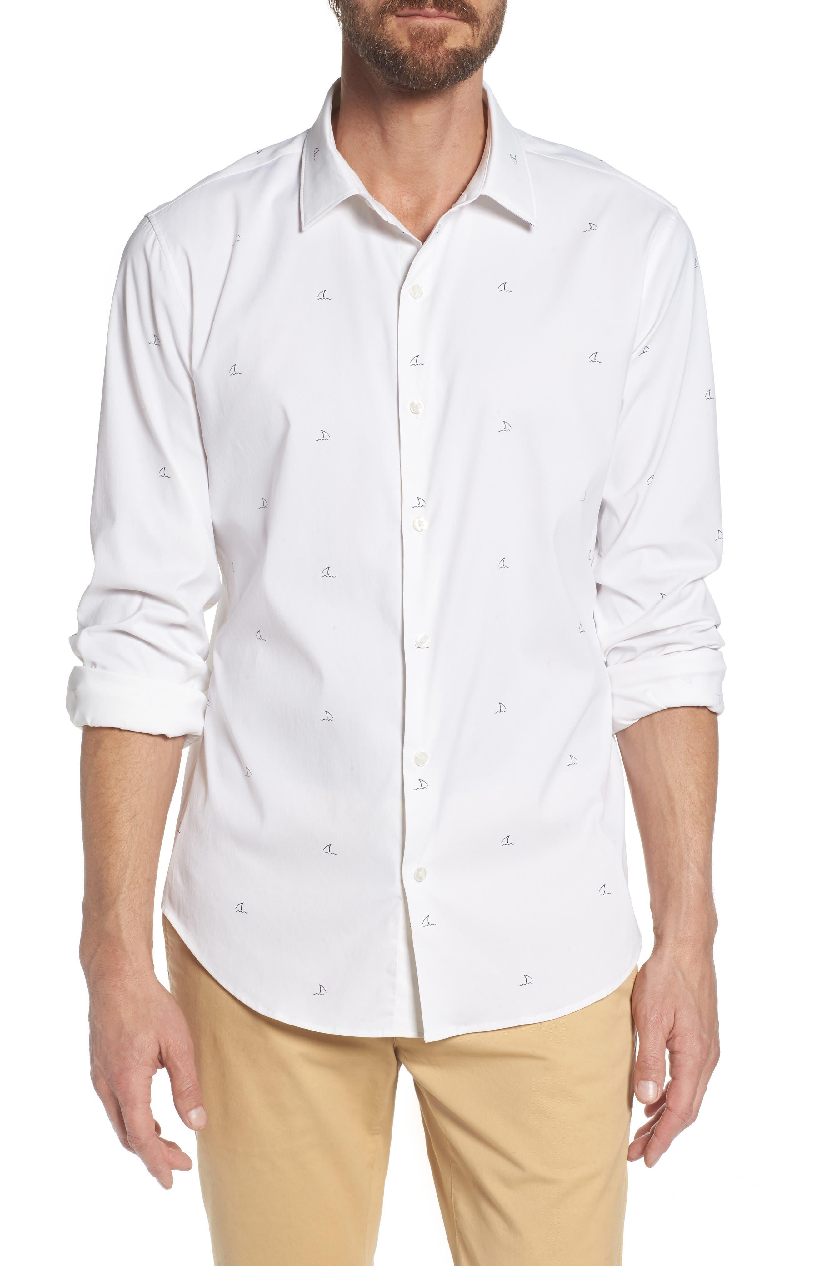 Slim Fit Shark Fin Print Performance Sport Shirt,                         Main,                         color, Shark Fin - White
