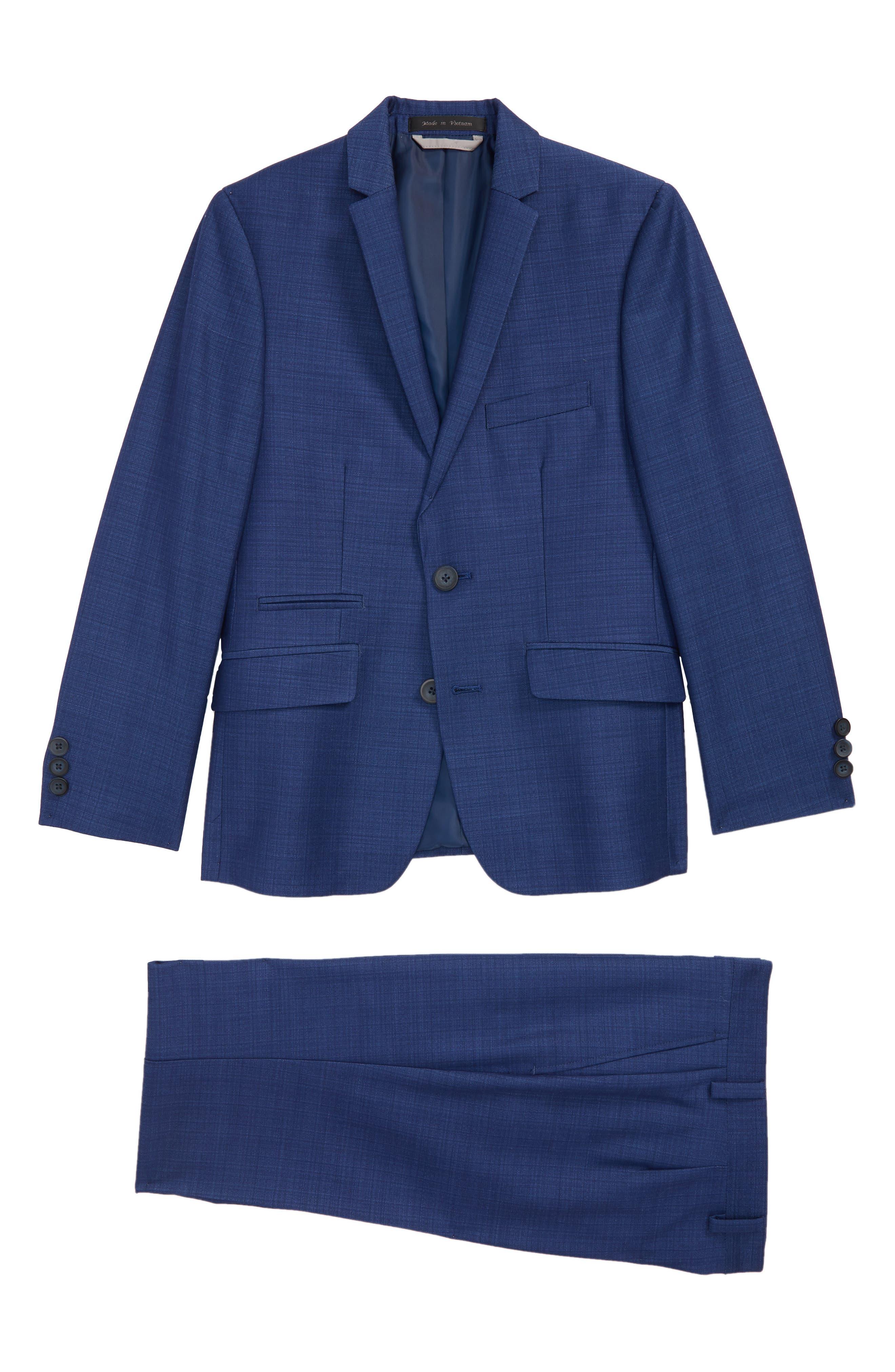 Textured Suit,                             Main thumbnail 1, color,                             Blue/ Navy