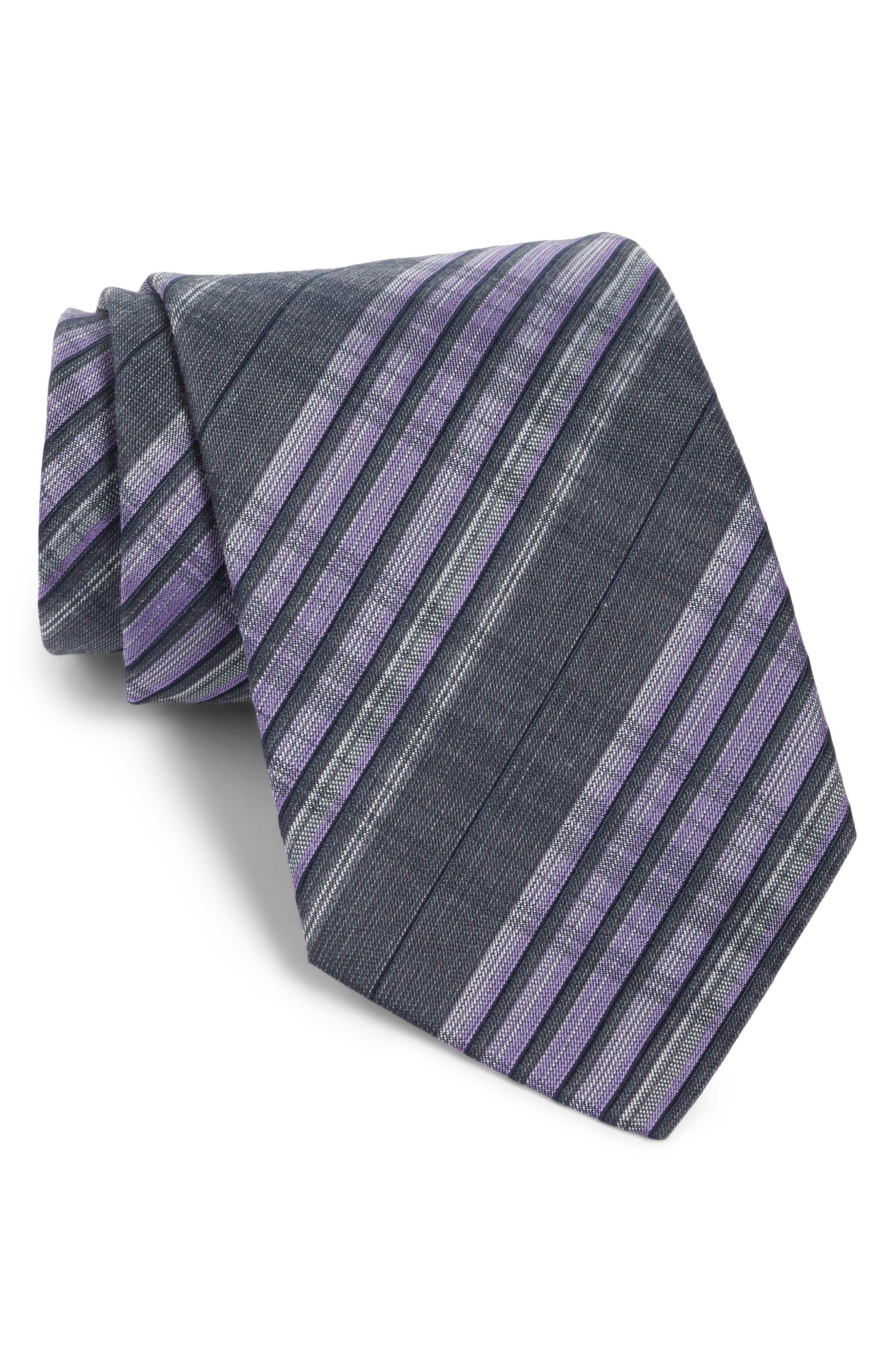 Plaid Silk Tie,                         Main,                         color, Purple