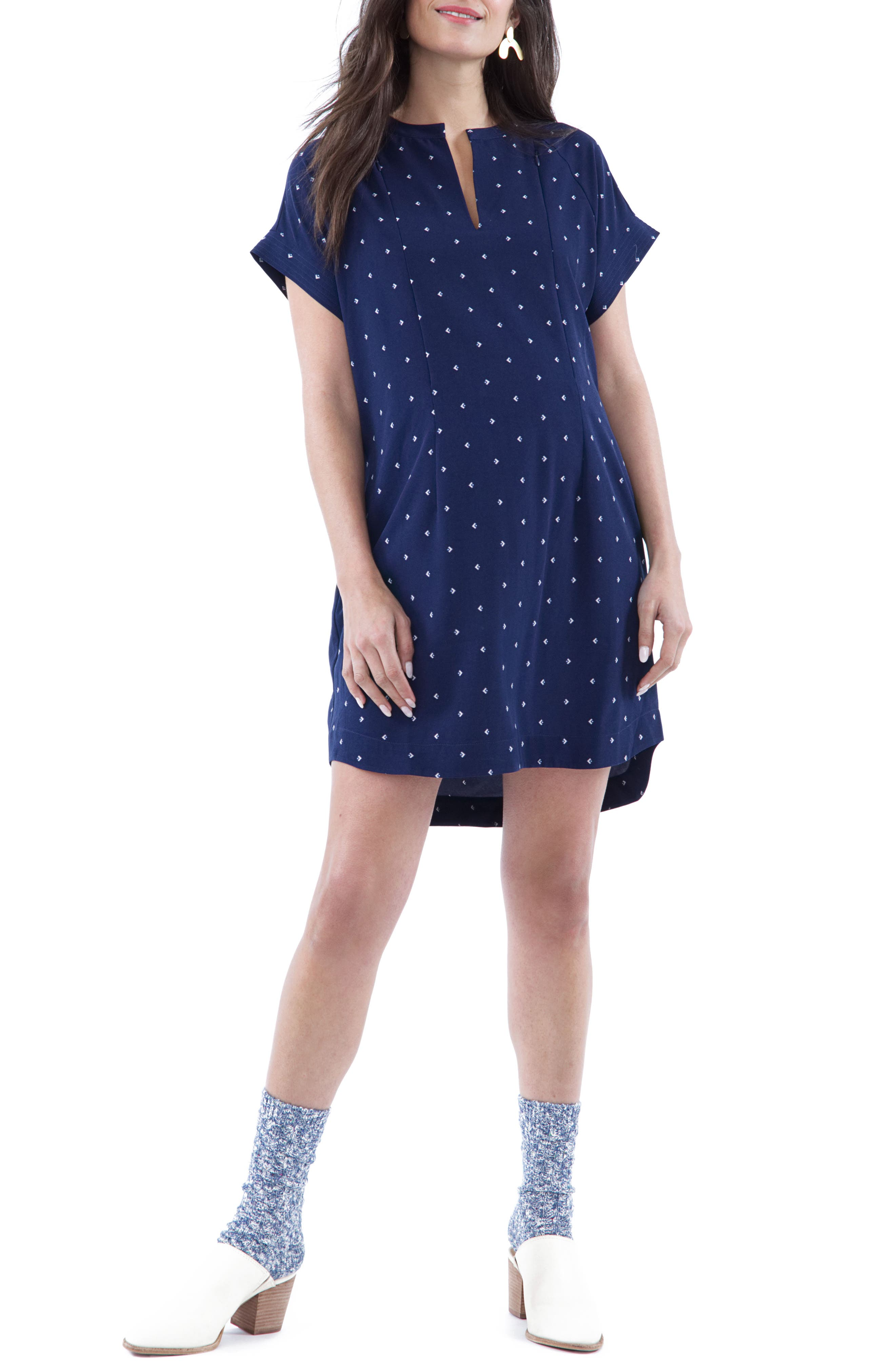 Cybelle Maternity/Nursing Shirtdress,                             Main thumbnail 1, color,                             Blue Arrow