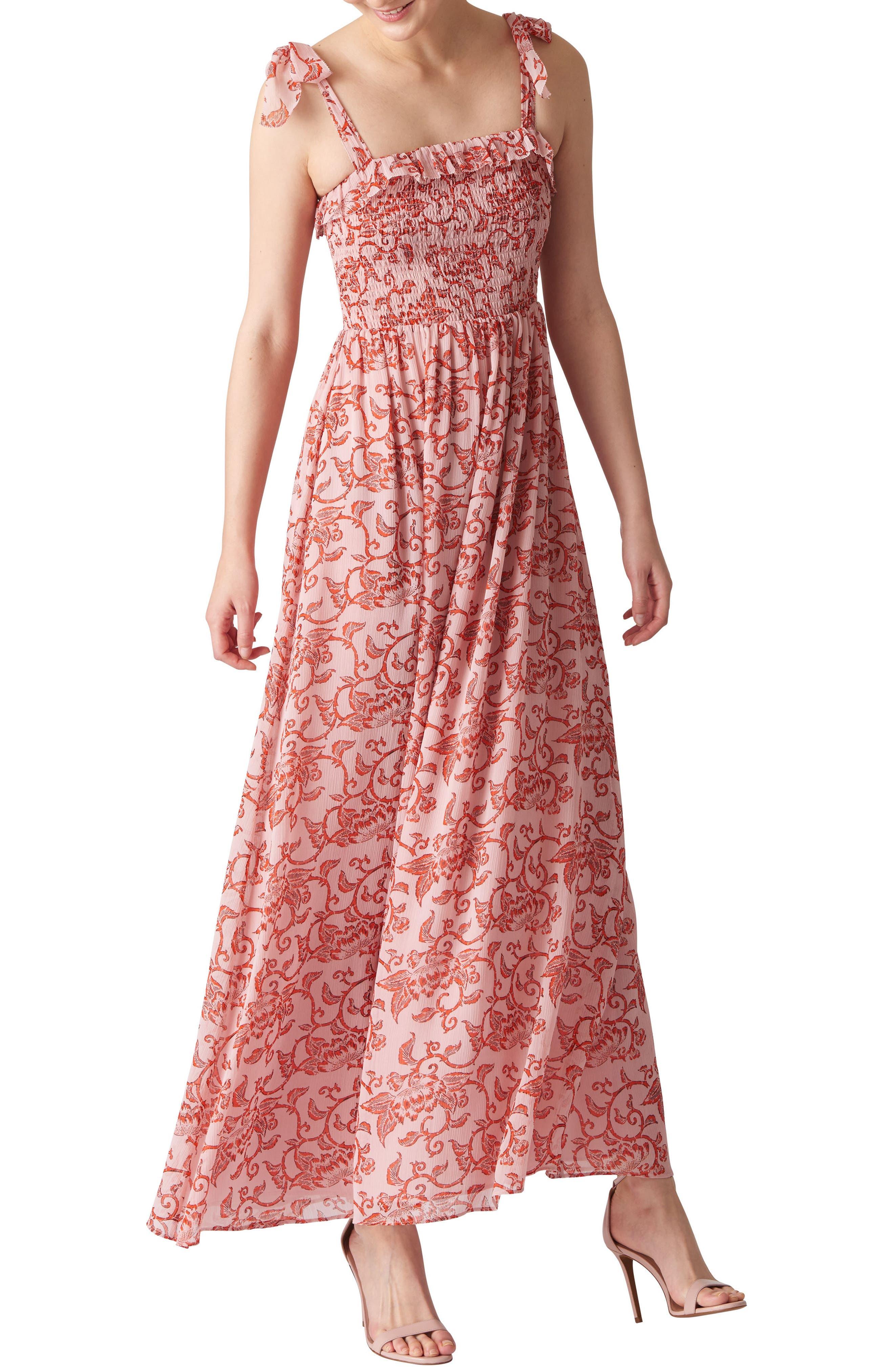 Bali Print Maxi Dress,                             Main thumbnail 1, color,                             Pink/ Multi