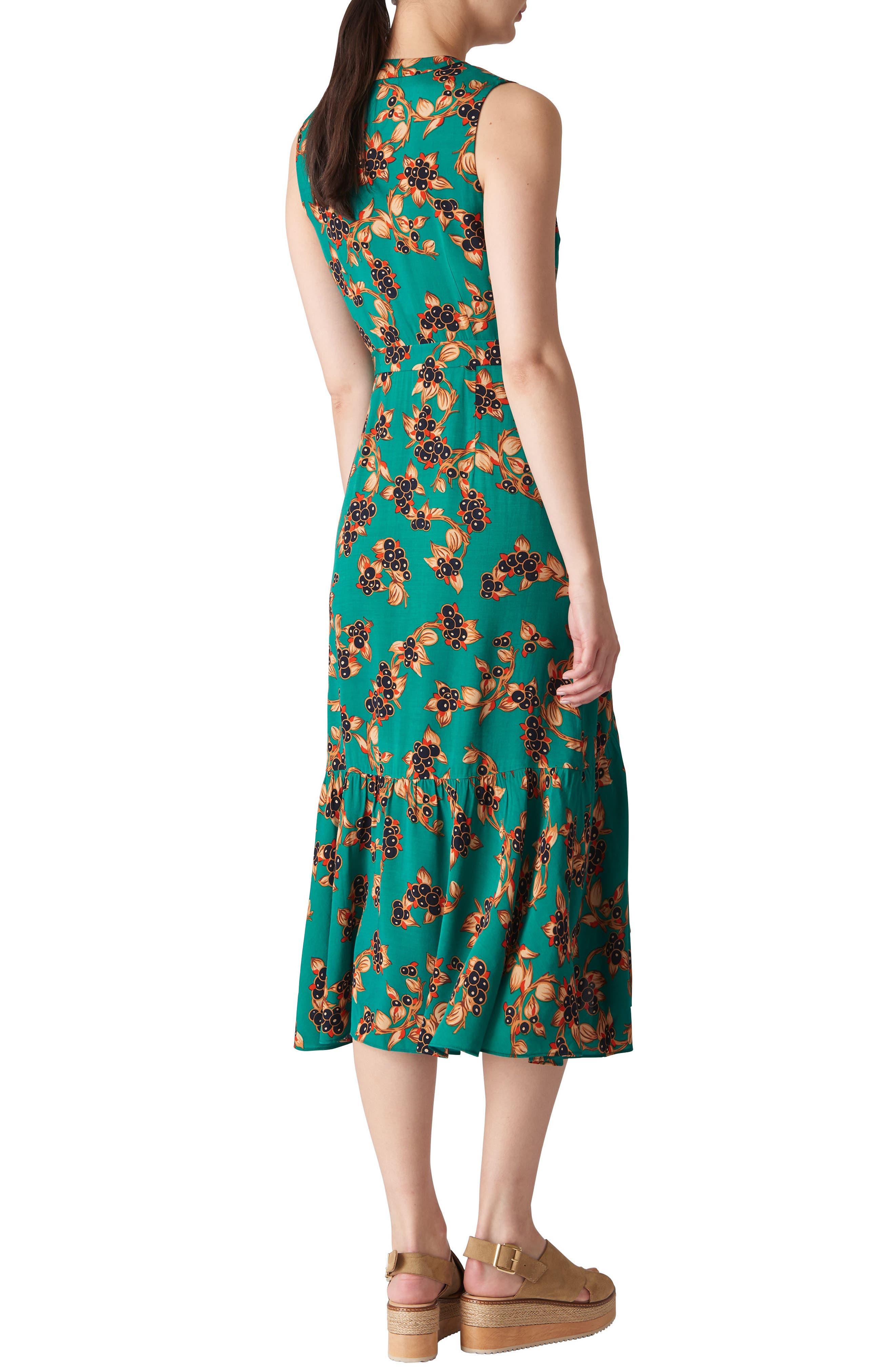 Capri Print Midi Wrap Dress,                             Alternate thumbnail 2, color,                             Green/ Multi