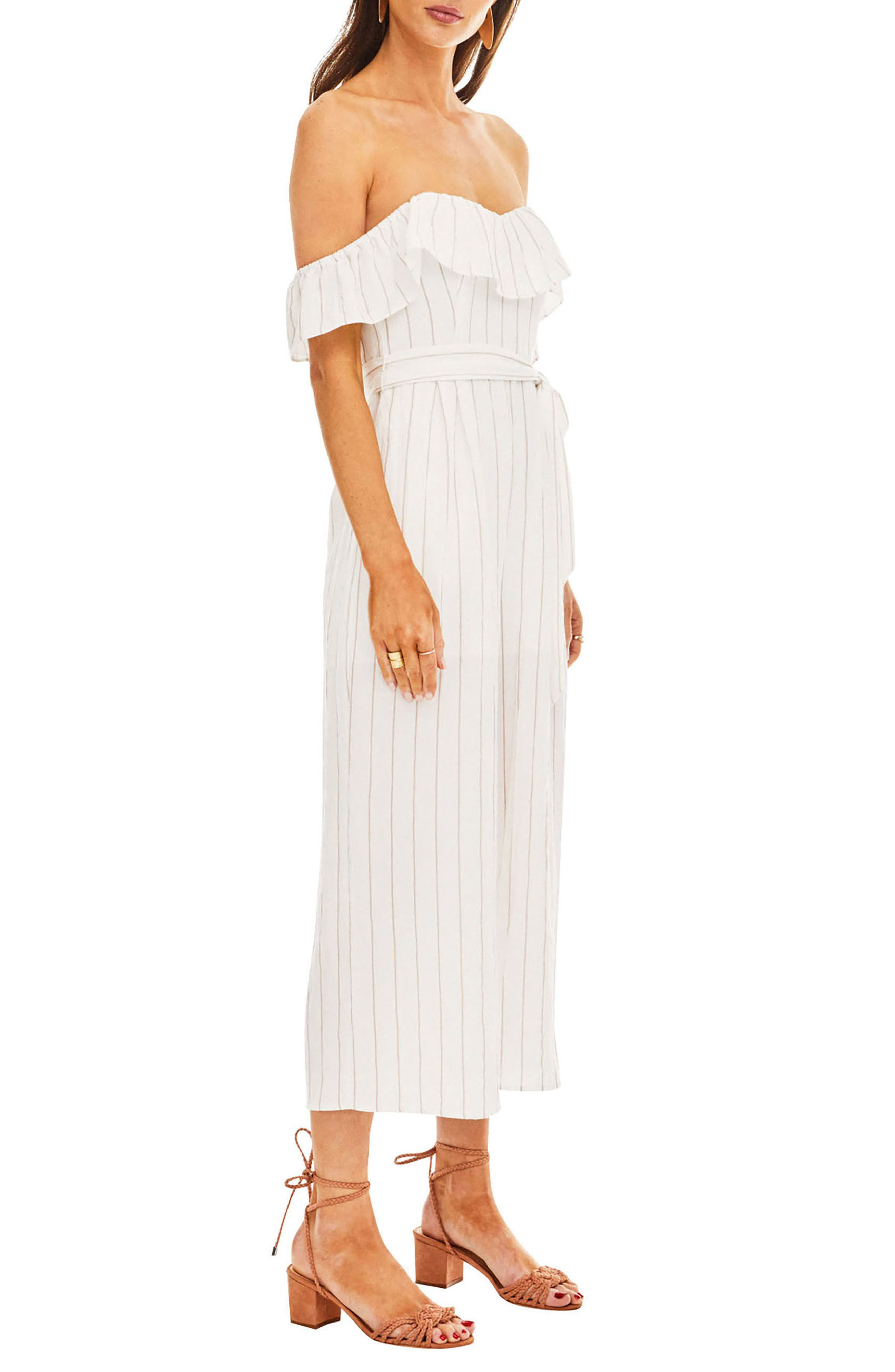 ASTR Keely Strapless Jumpsuit,                             Alternate thumbnail 3, color,                             White-Taupe Stripe