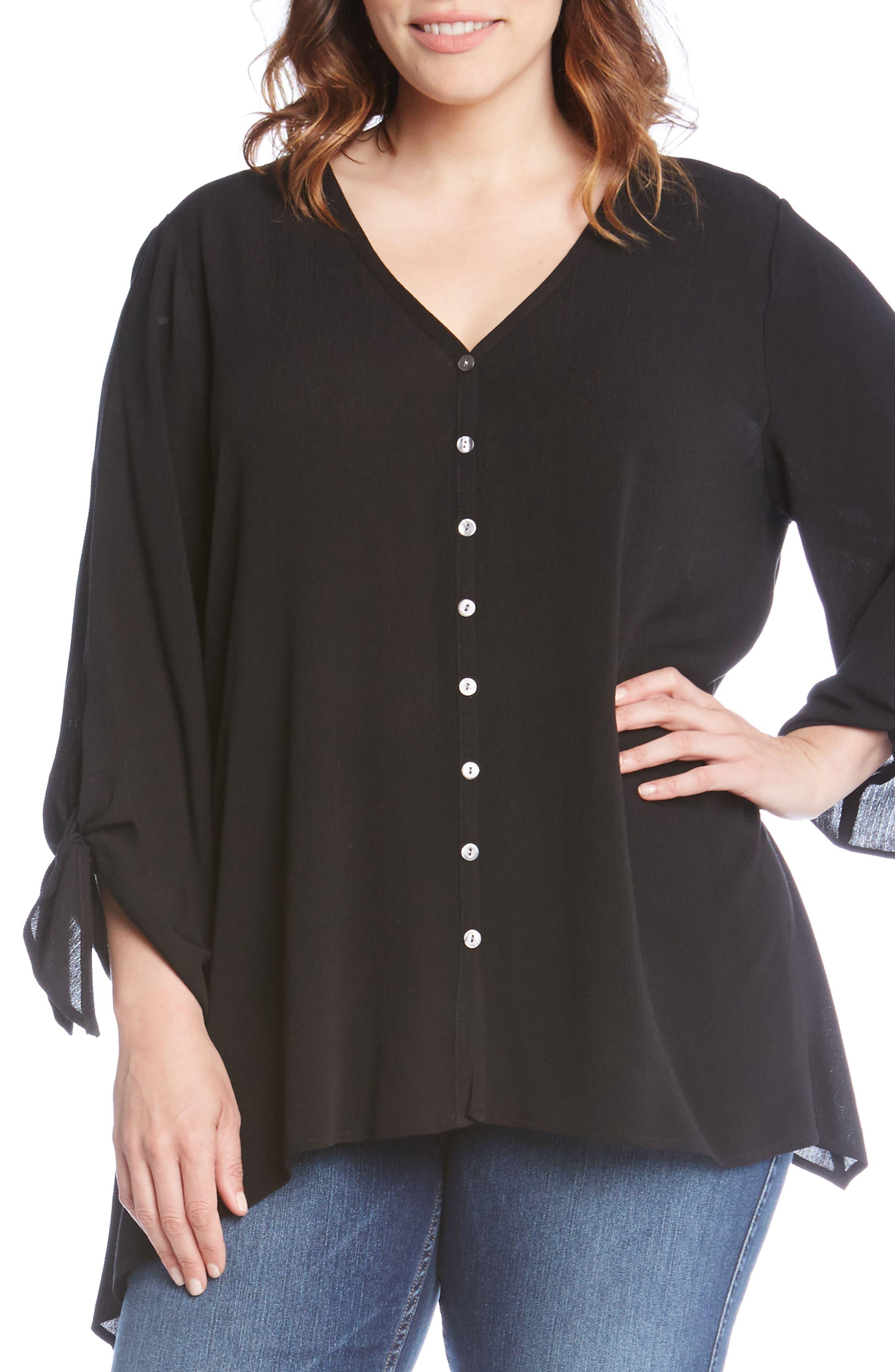 Karen Kane Tie Sleeve Top (Plus Size)