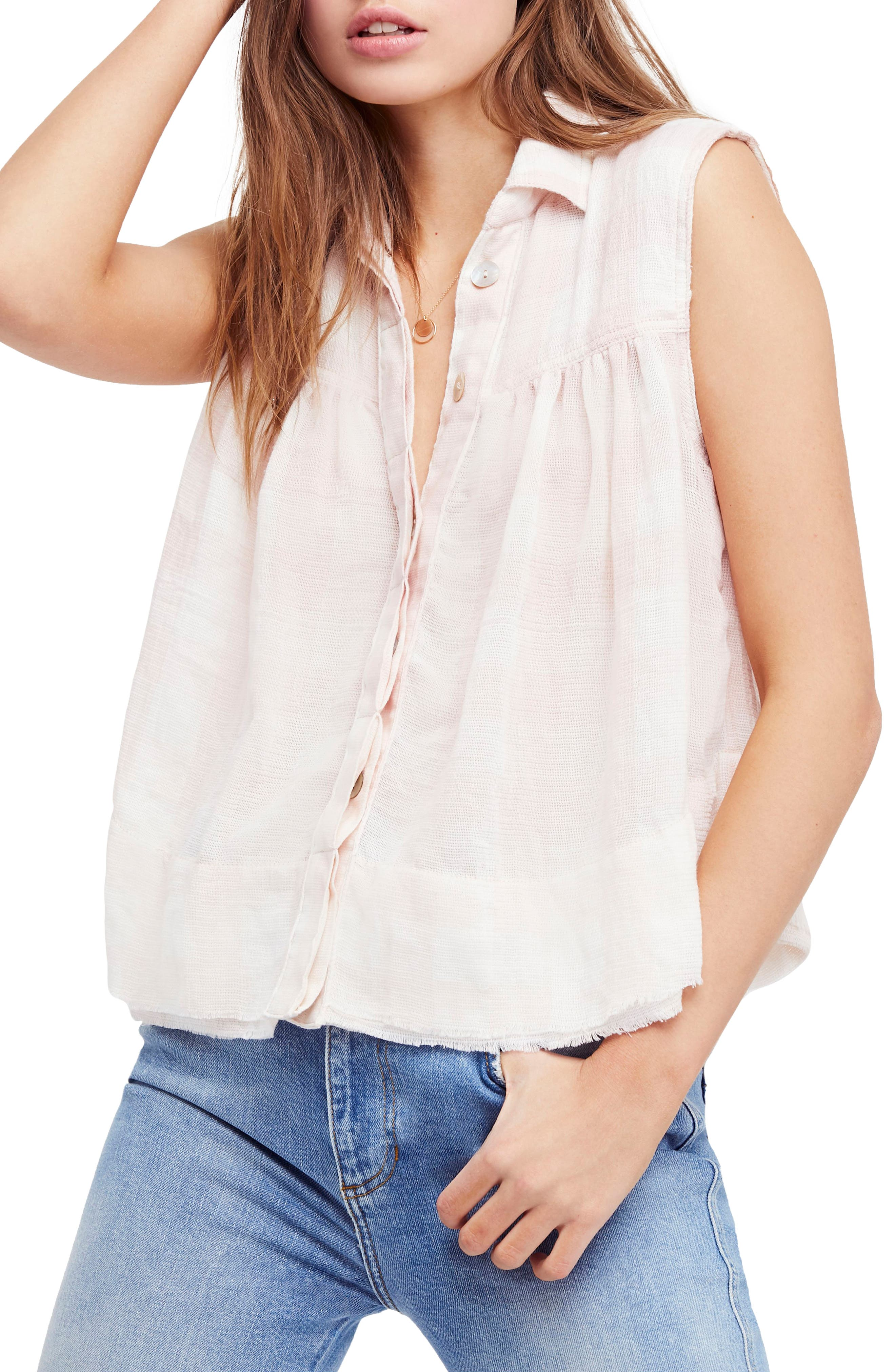Hey There Sunrise Button Front Shirt,                             Main thumbnail 1, color,                             Pink