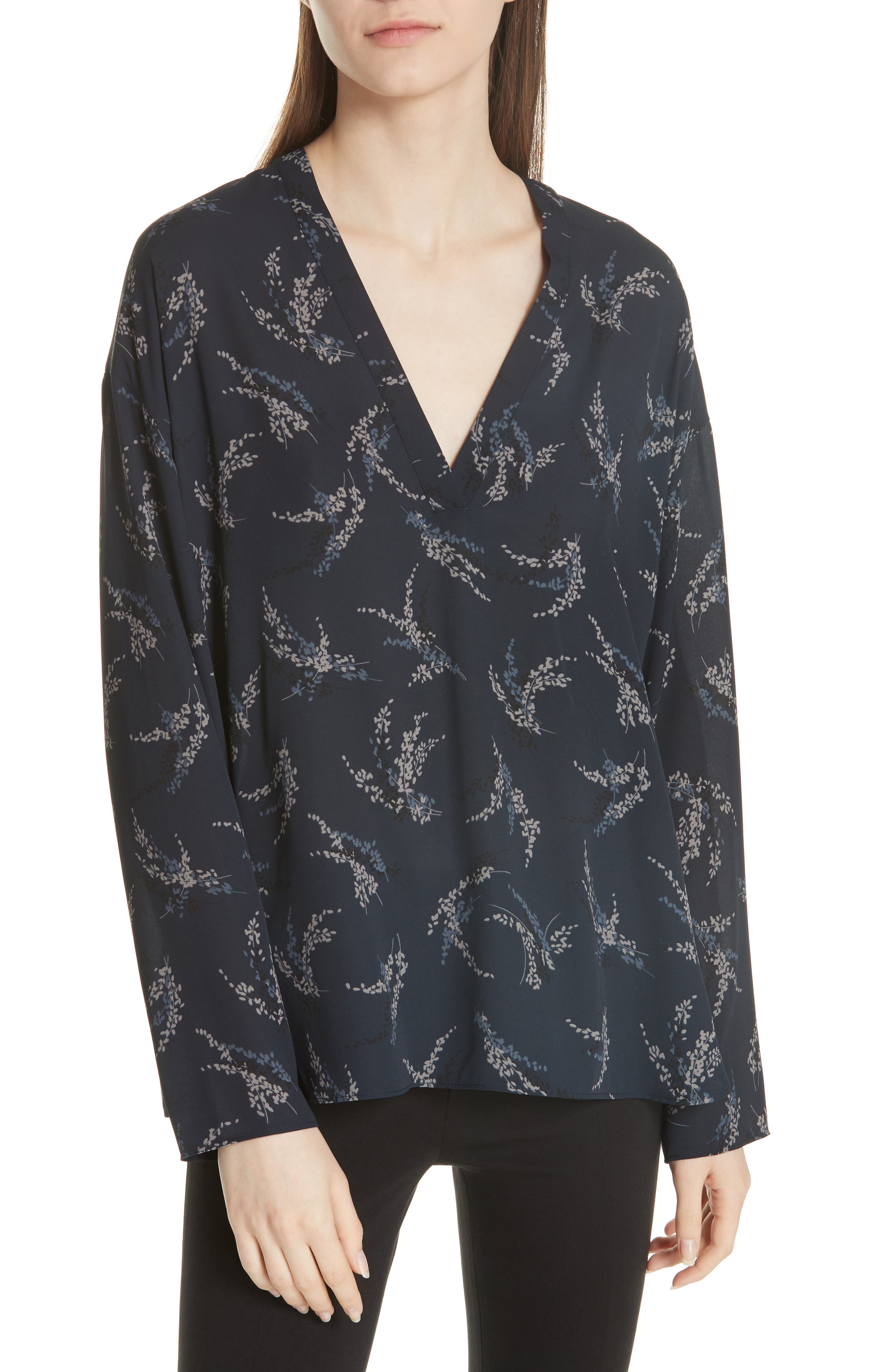 Sprig Floral Print Popover Top,                             Main thumbnail 1, color,                             Costal