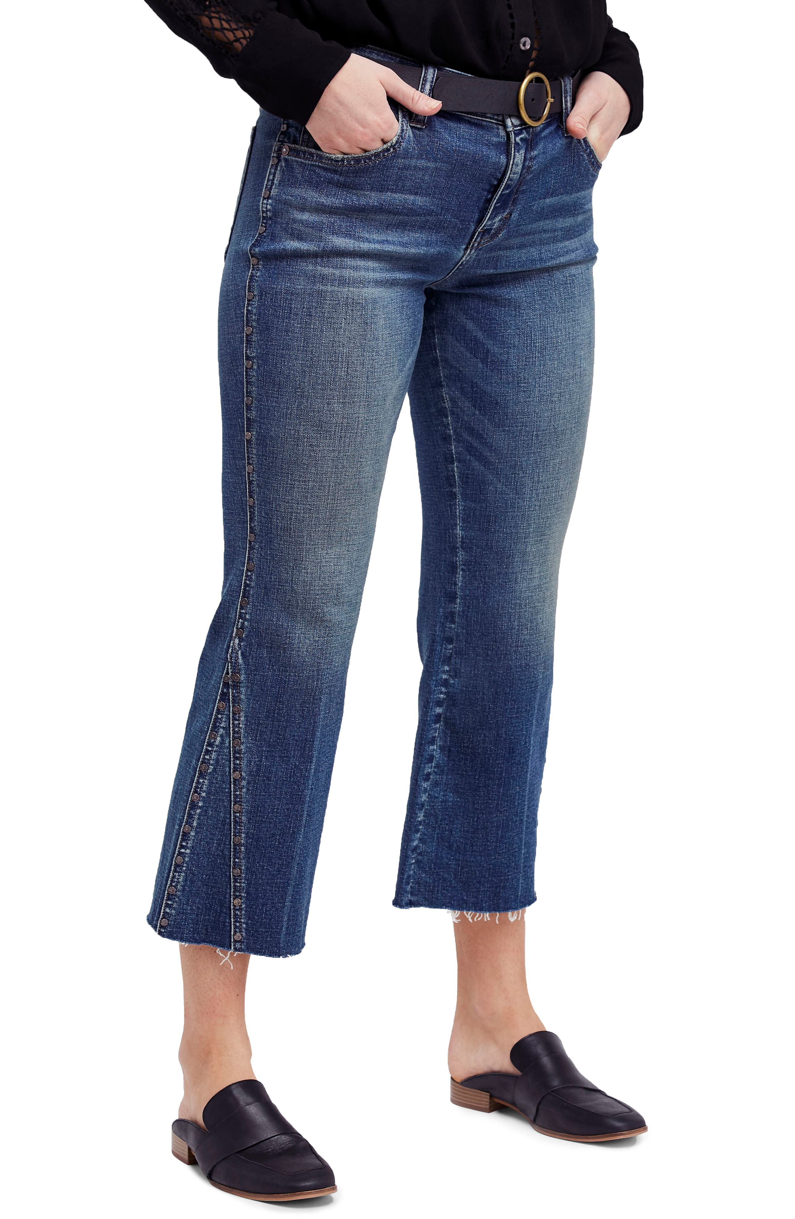 Studded Crop Flare Jeans,                             Main thumbnail 1, color,                             Dark Denim