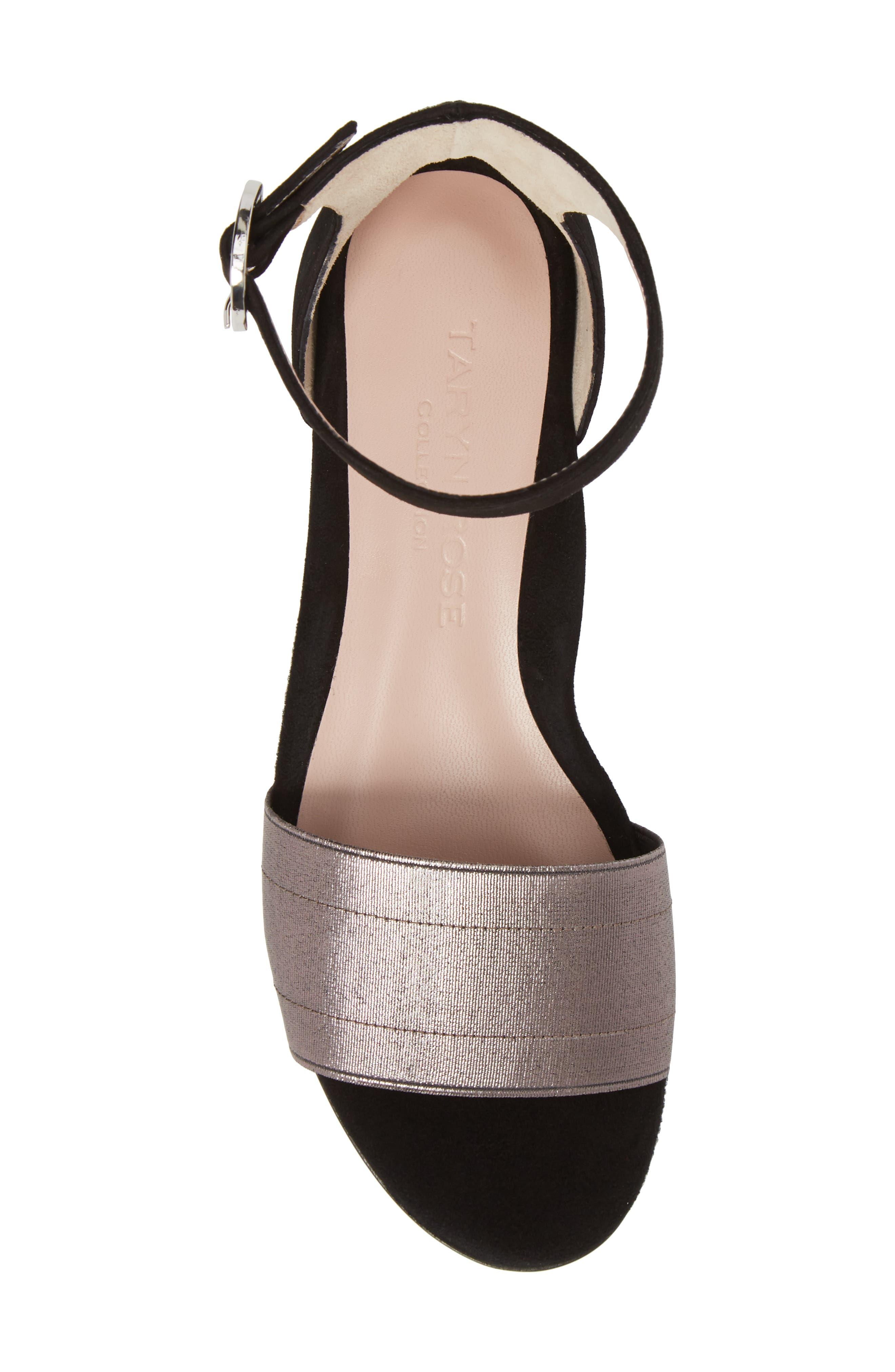 Donati Ankle Strap Sandal,                             Alternate thumbnail 5, color,                             Black/ Gunmetal Suede