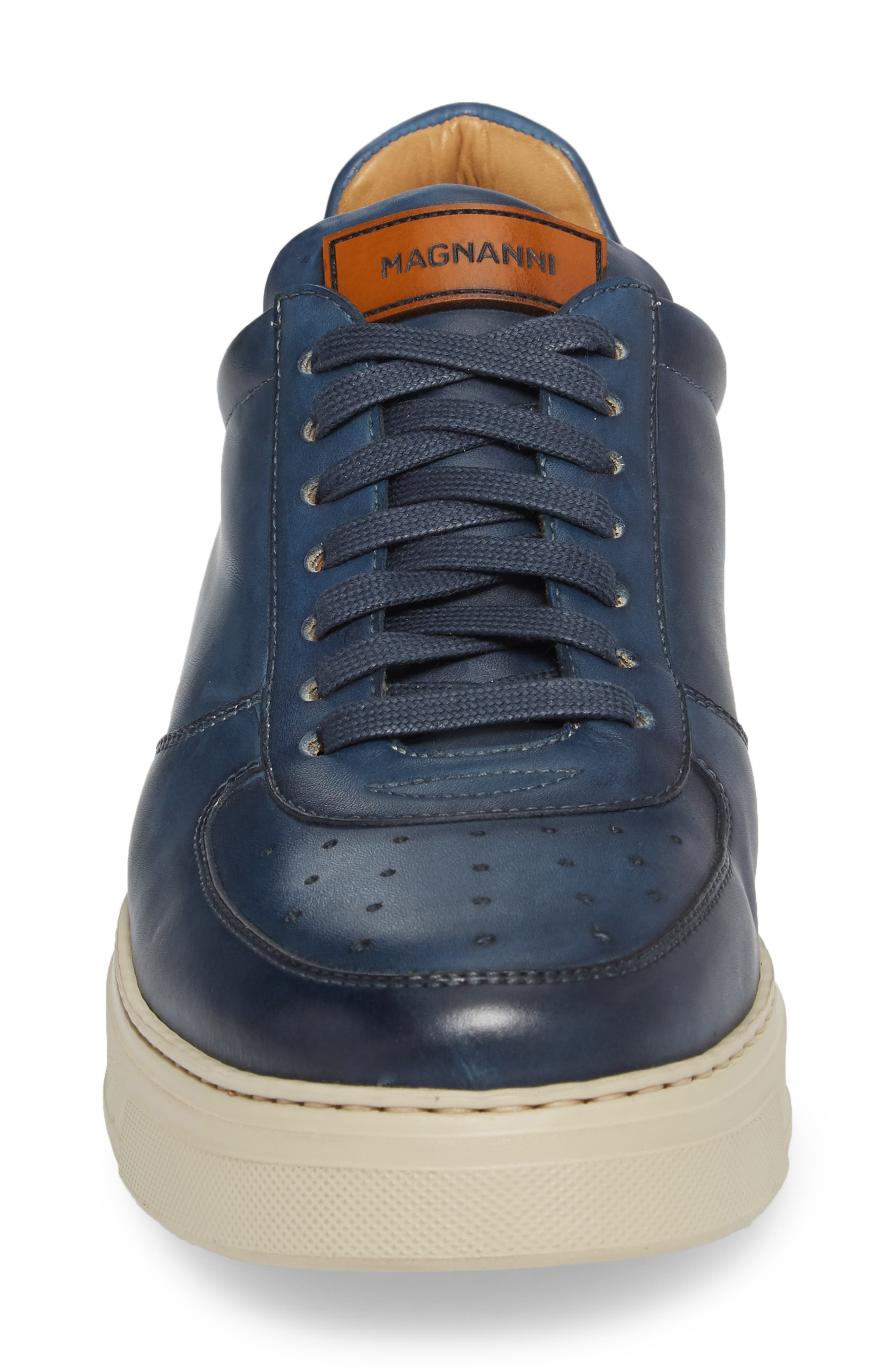 Vada Lo Lace Up Sneaker,                             Alternate thumbnail 4, color,                             Blue Leather