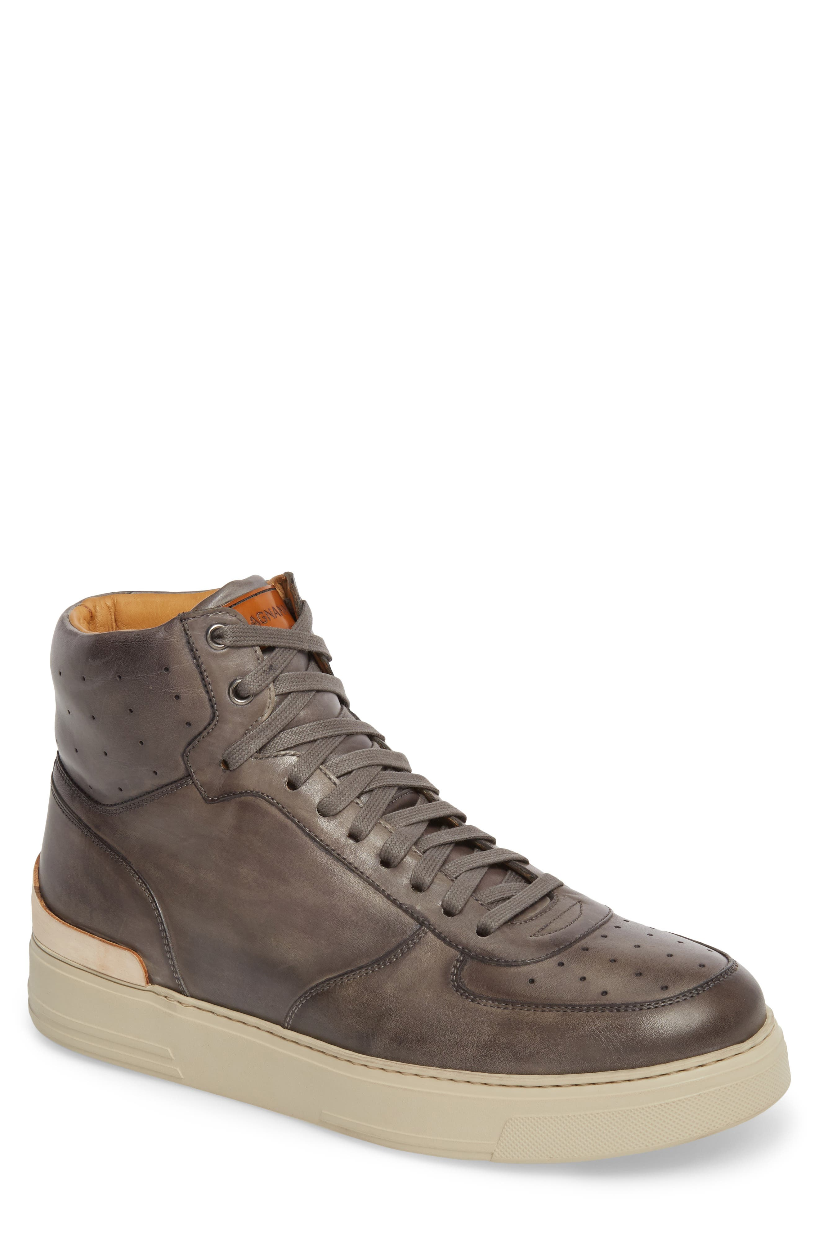 Varro Hi Top Lace Up Sneaker,                         Main,                         color, Grey/ Grey Leather