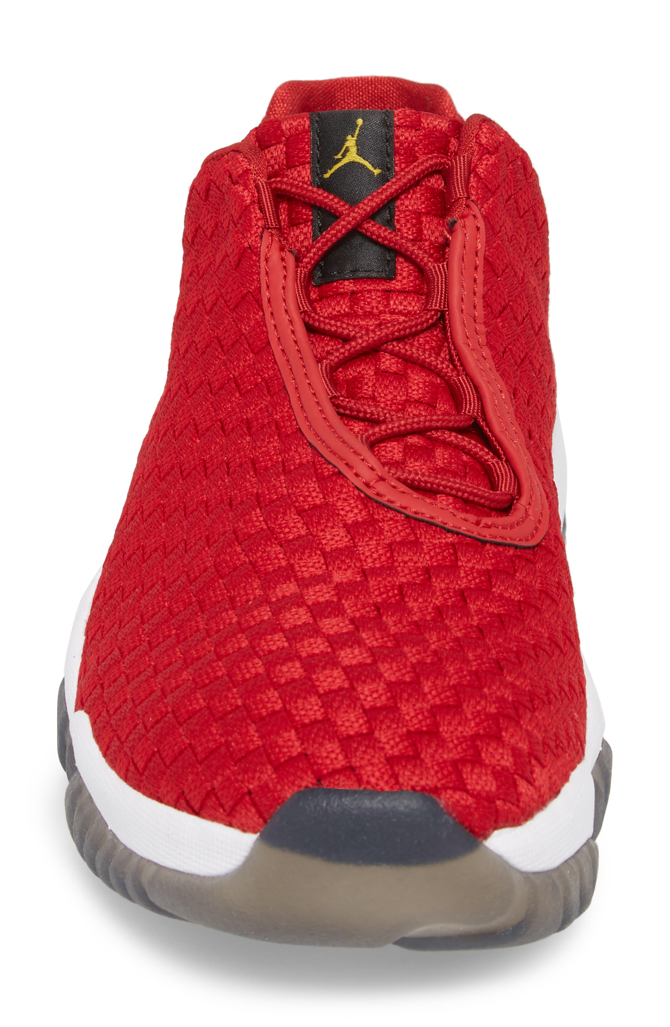 Air Jordan Future Woven Sneaker,                             Alternate thumbnail 4, color,                             Gym Red/ White/ Black