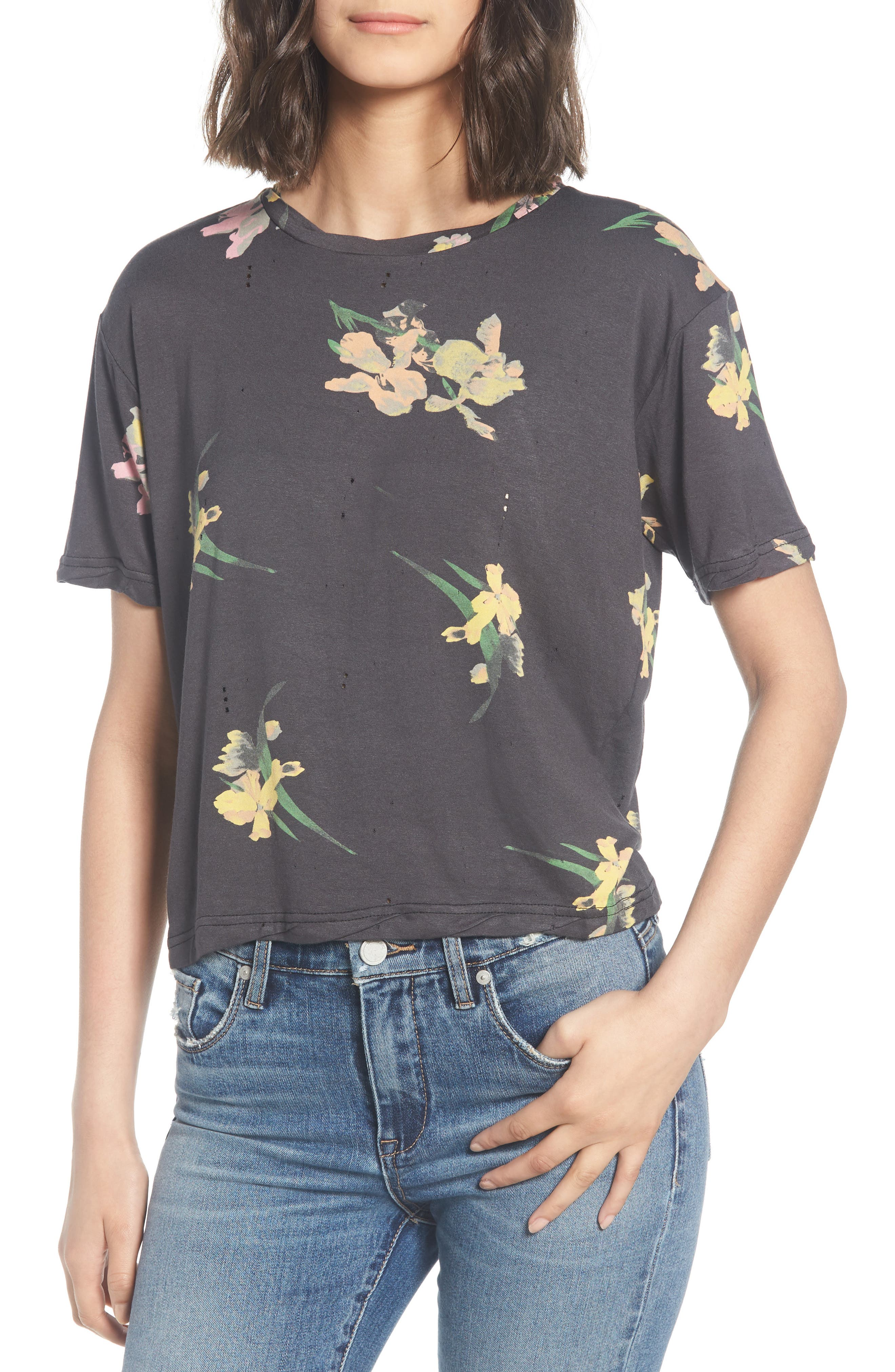 Floral Print Distressed Tee,                         Main,                         color, Black Ground Floral
