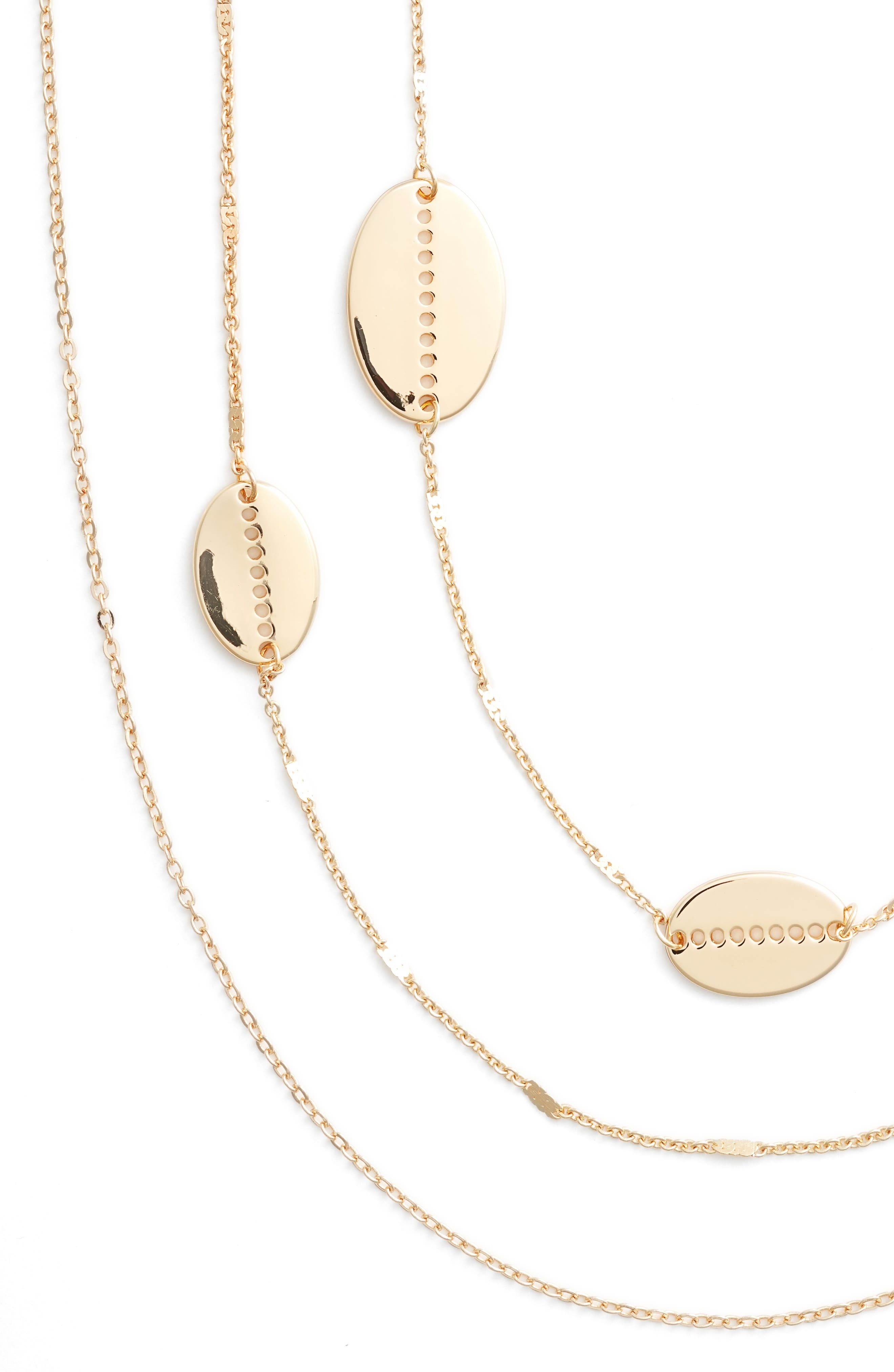 Cutout Oval Station Multistrand Necklace,                             Alternate thumbnail 2, color,                             Gold