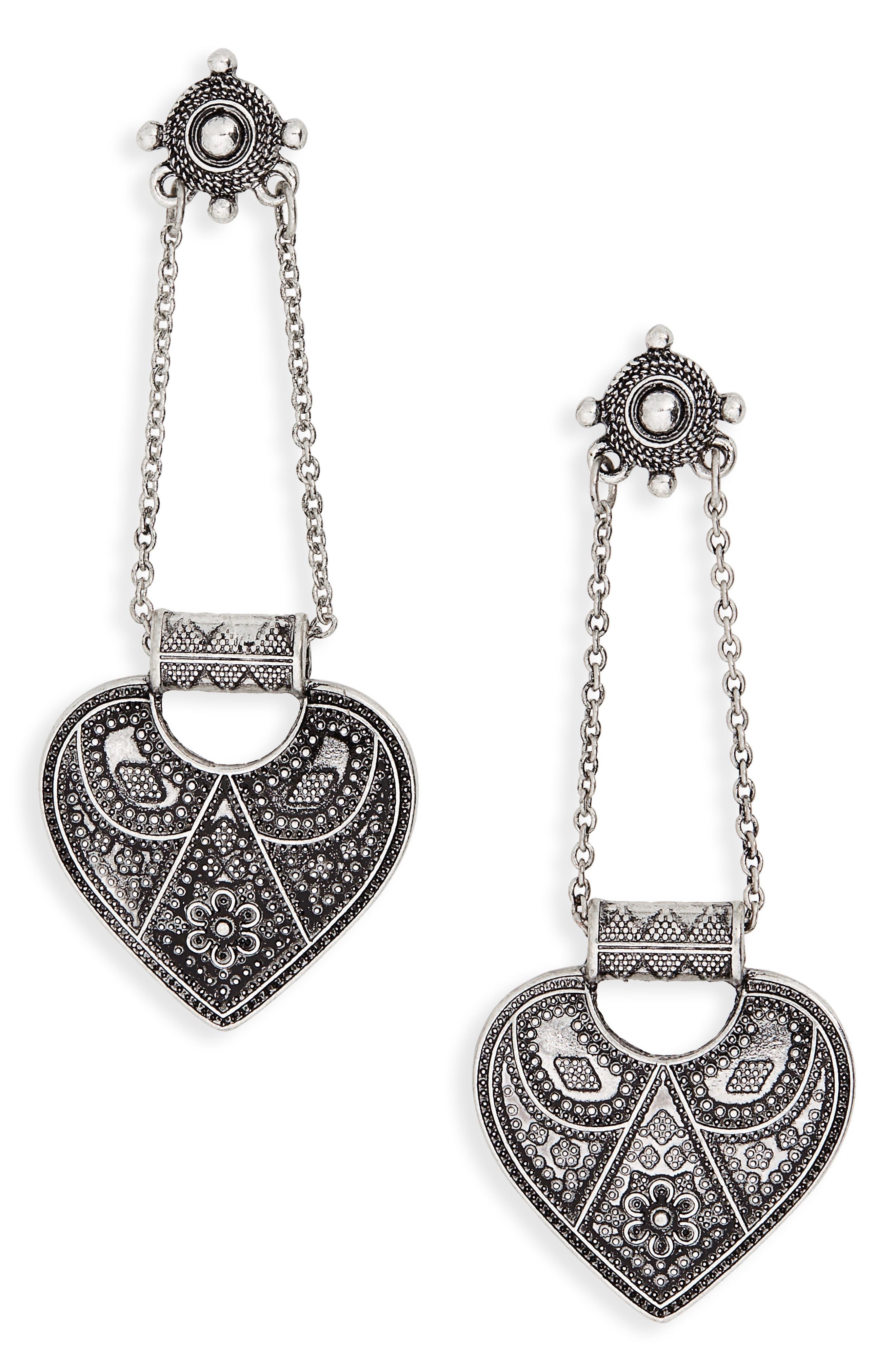 Heart Drop Earrings,                             Main thumbnail 1, color,                             Burnish Silver