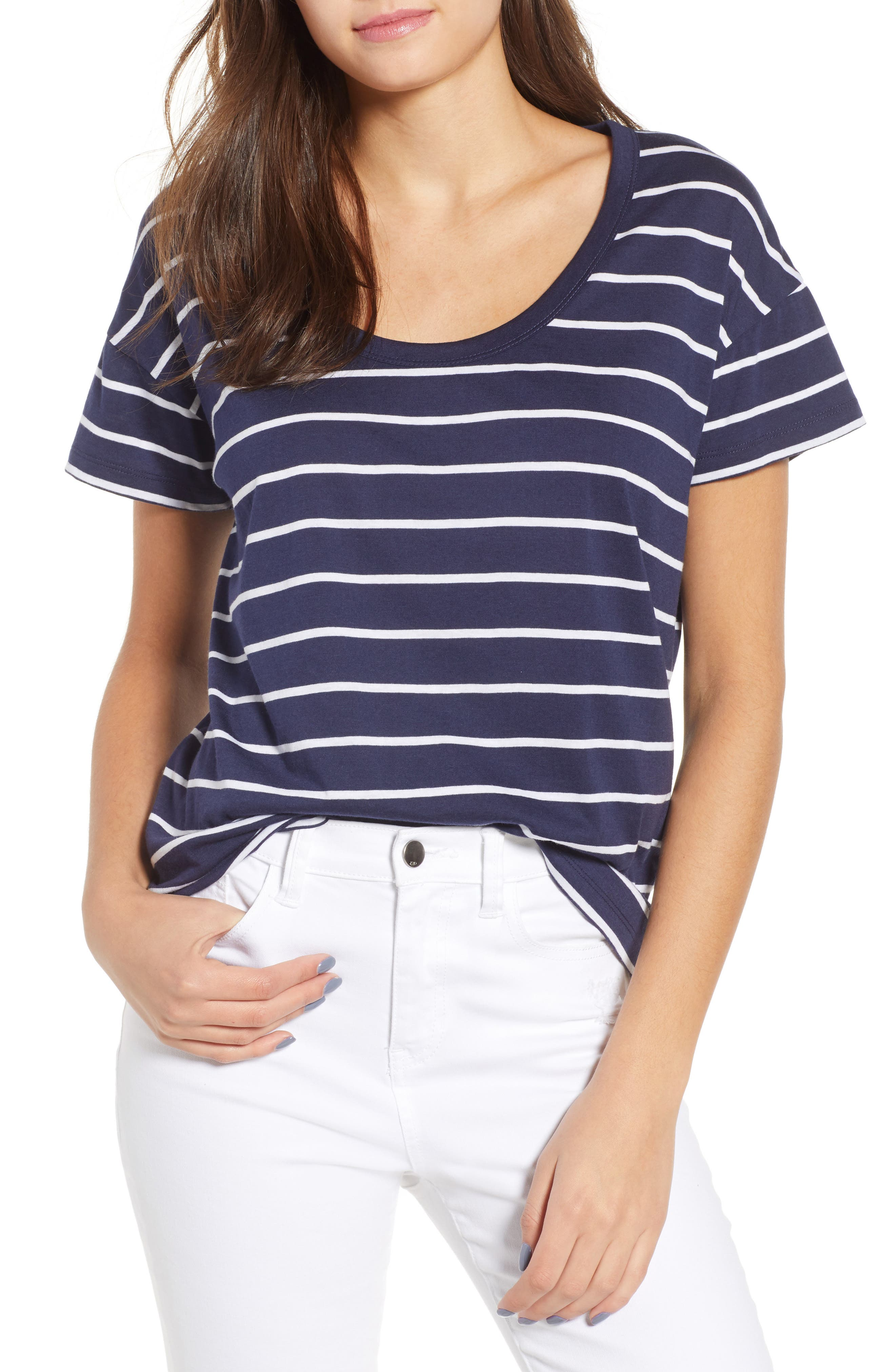 Relaxed Cotton Blend Tee, Main, color, Navy Peacoat Sandy Stripe