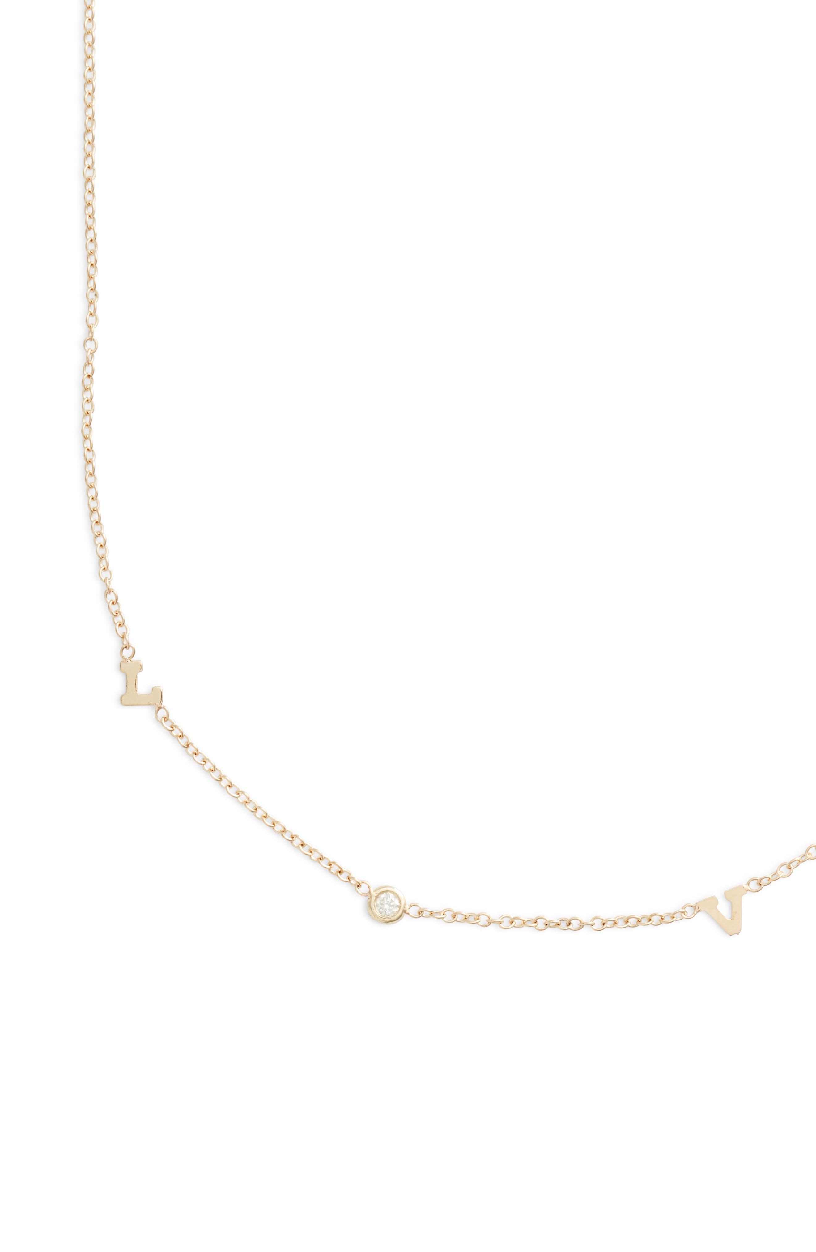 Itty Bitty Love Diamond Necklace,                             Alternate thumbnail 2, color,                             Yellow Gold