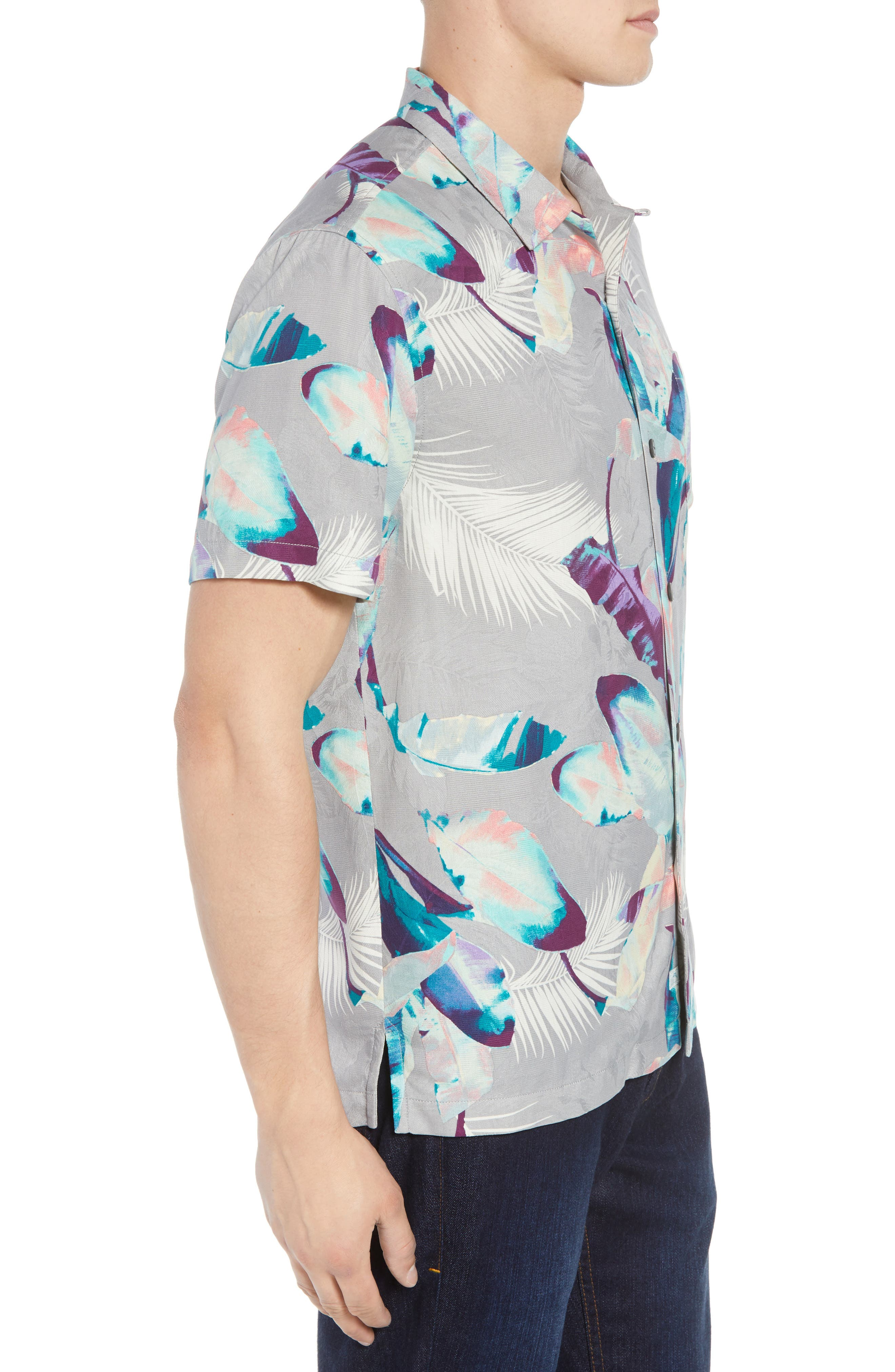 Garden of Hope and Courage Silk Camp Shirt,                             Alternate thumbnail 4, color,                             Bala Shark