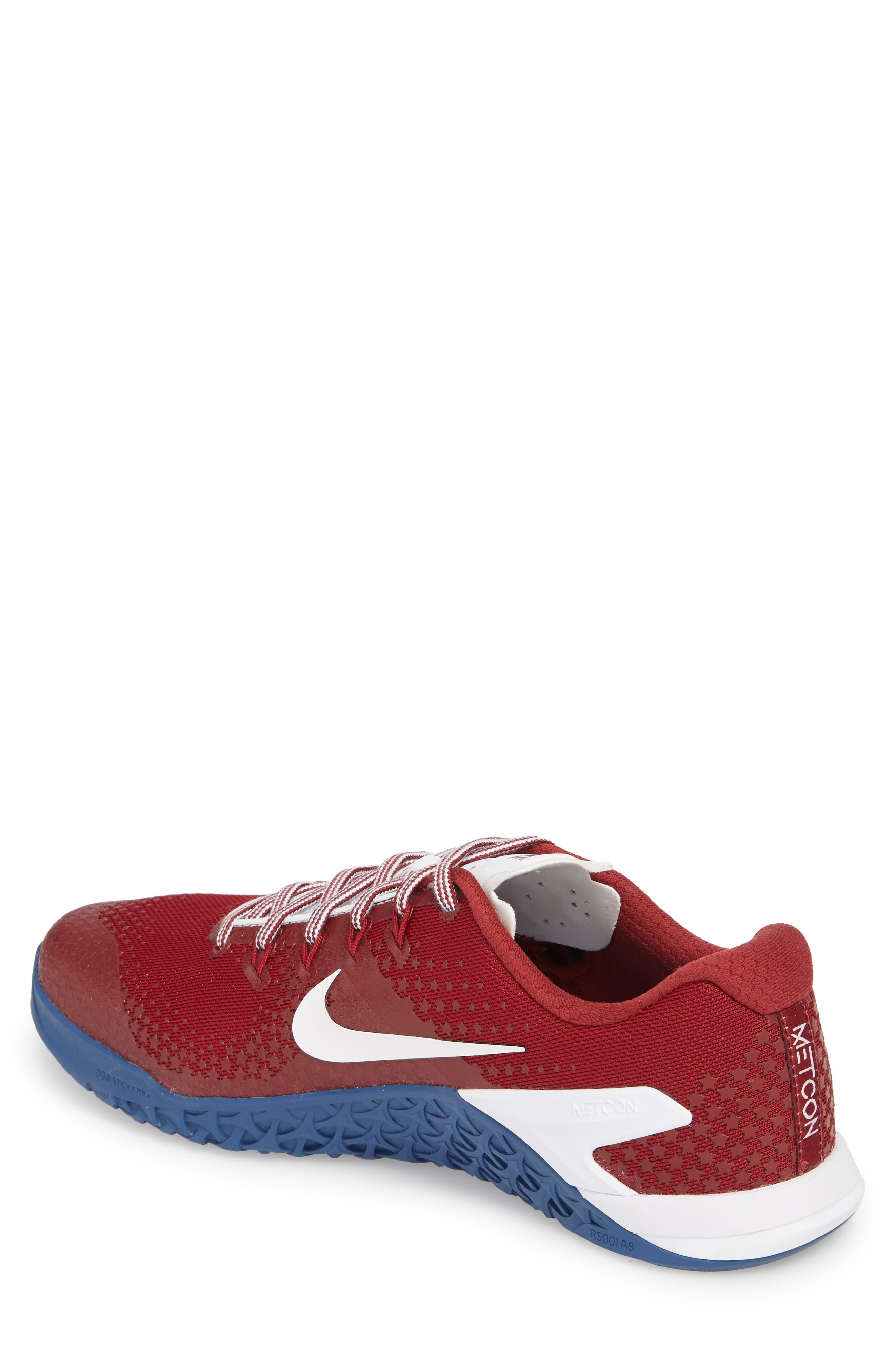 Metcon 4 Americana Training Shoe,                             Alternate thumbnail 2, color,                             Team Red/ White/ Gym Blue
