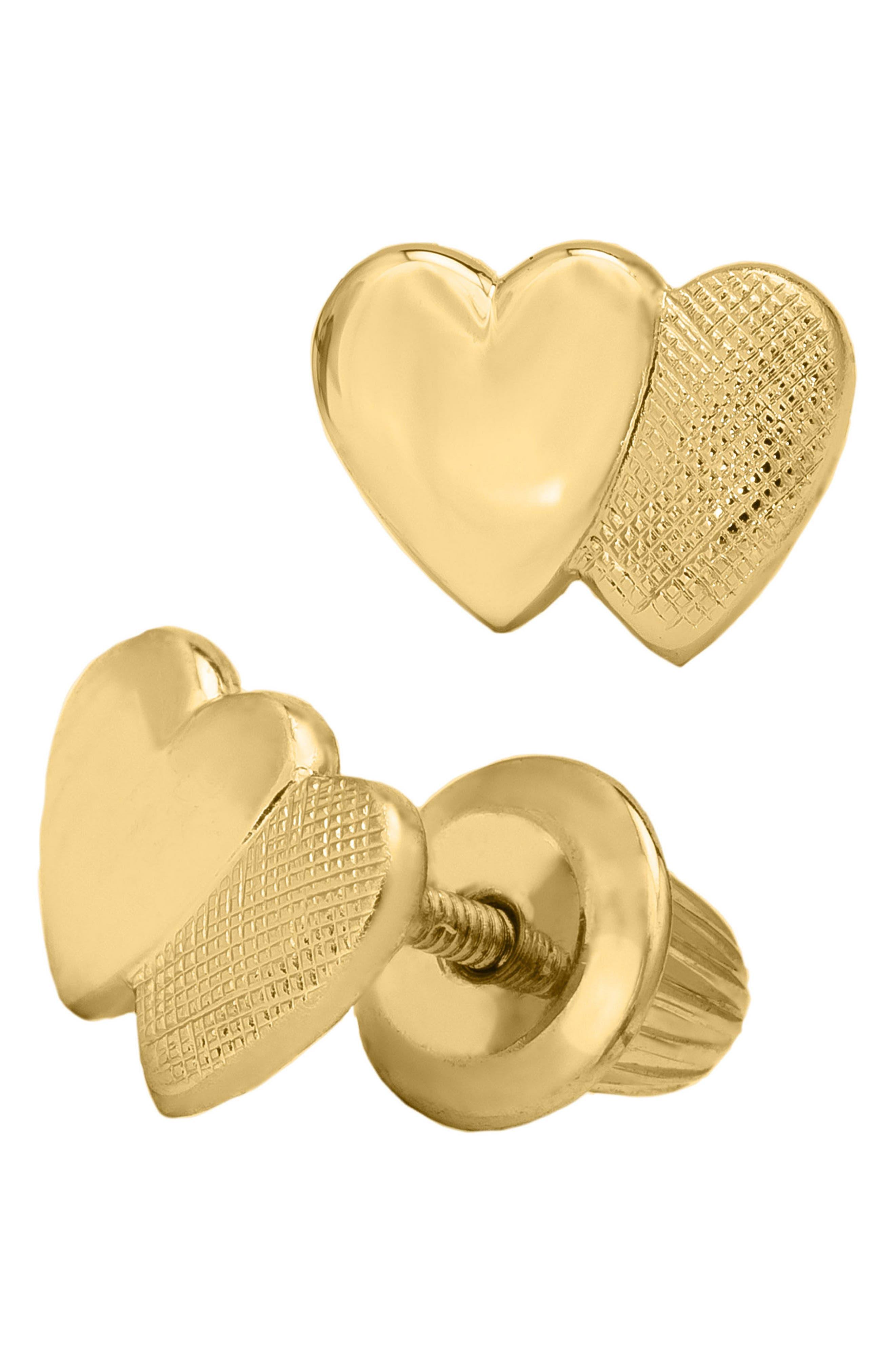 14k Gold Heart Earrings,                             Alternate thumbnail 3, color,                             Gold