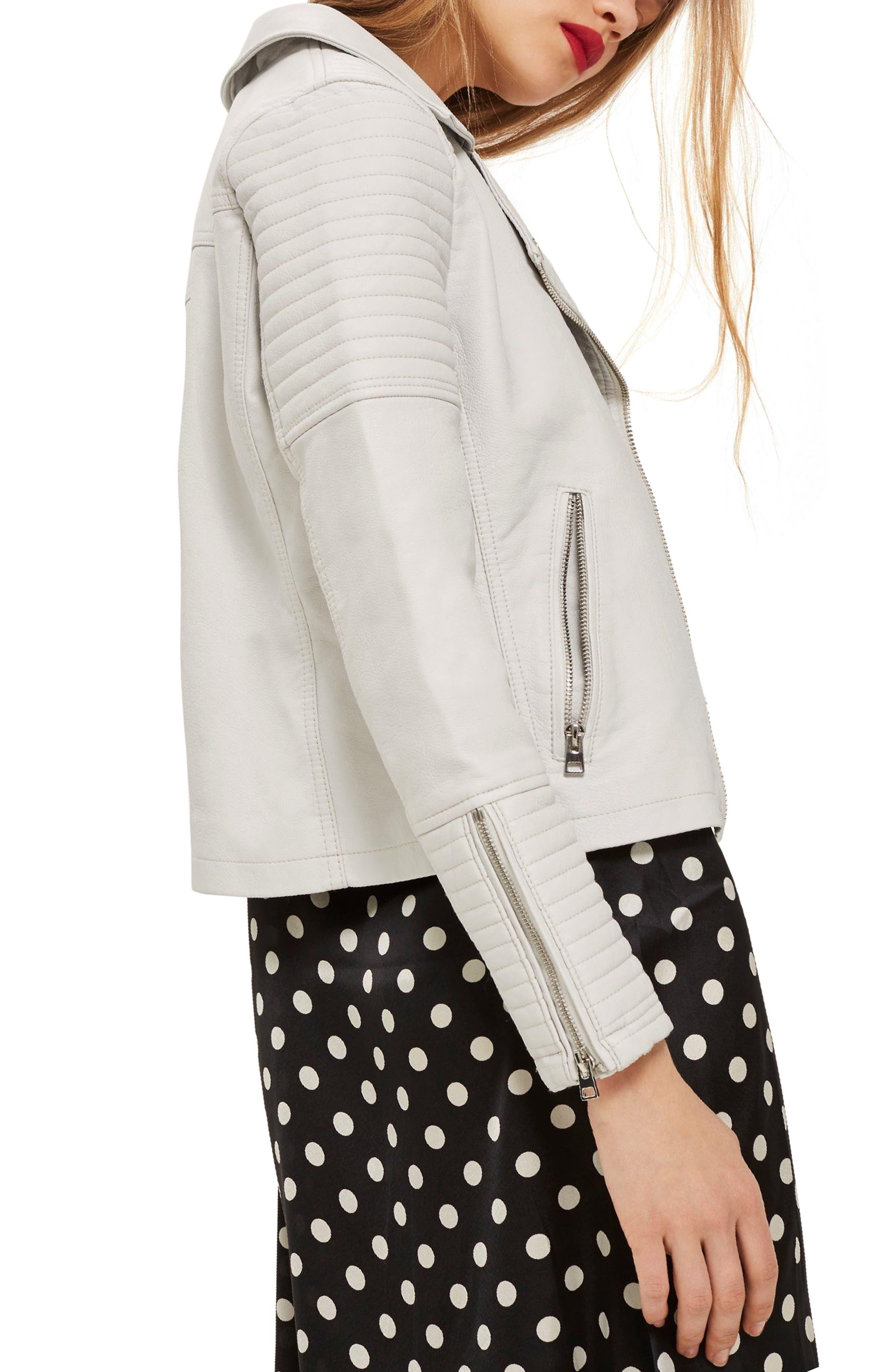 Rosa Biker Jacket,                             Alternate thumbnail 3, color,                             White