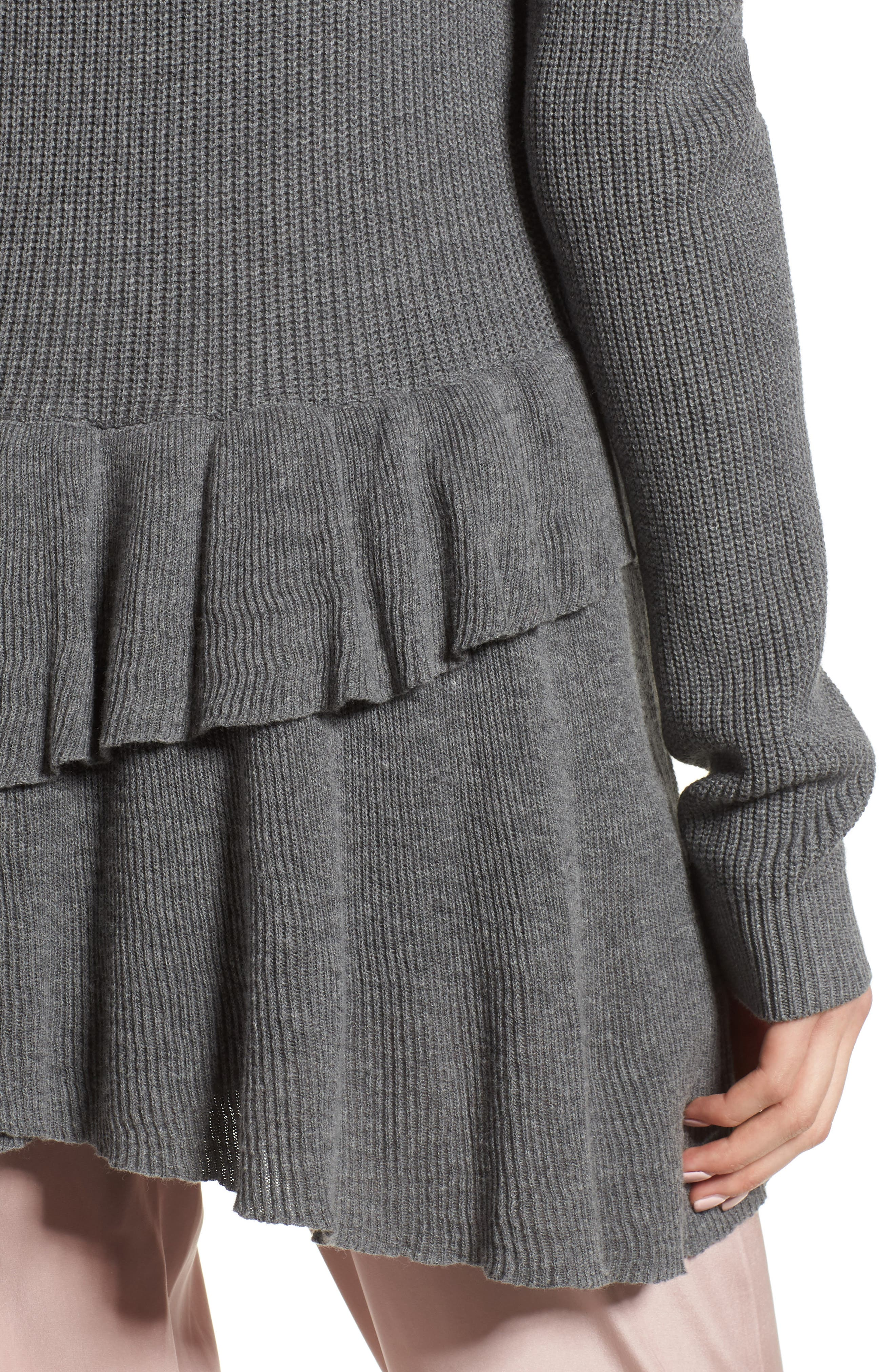 Ruffle Cardigan,                             Alternate thumbnail 4, color,                             Grey Dark Heather