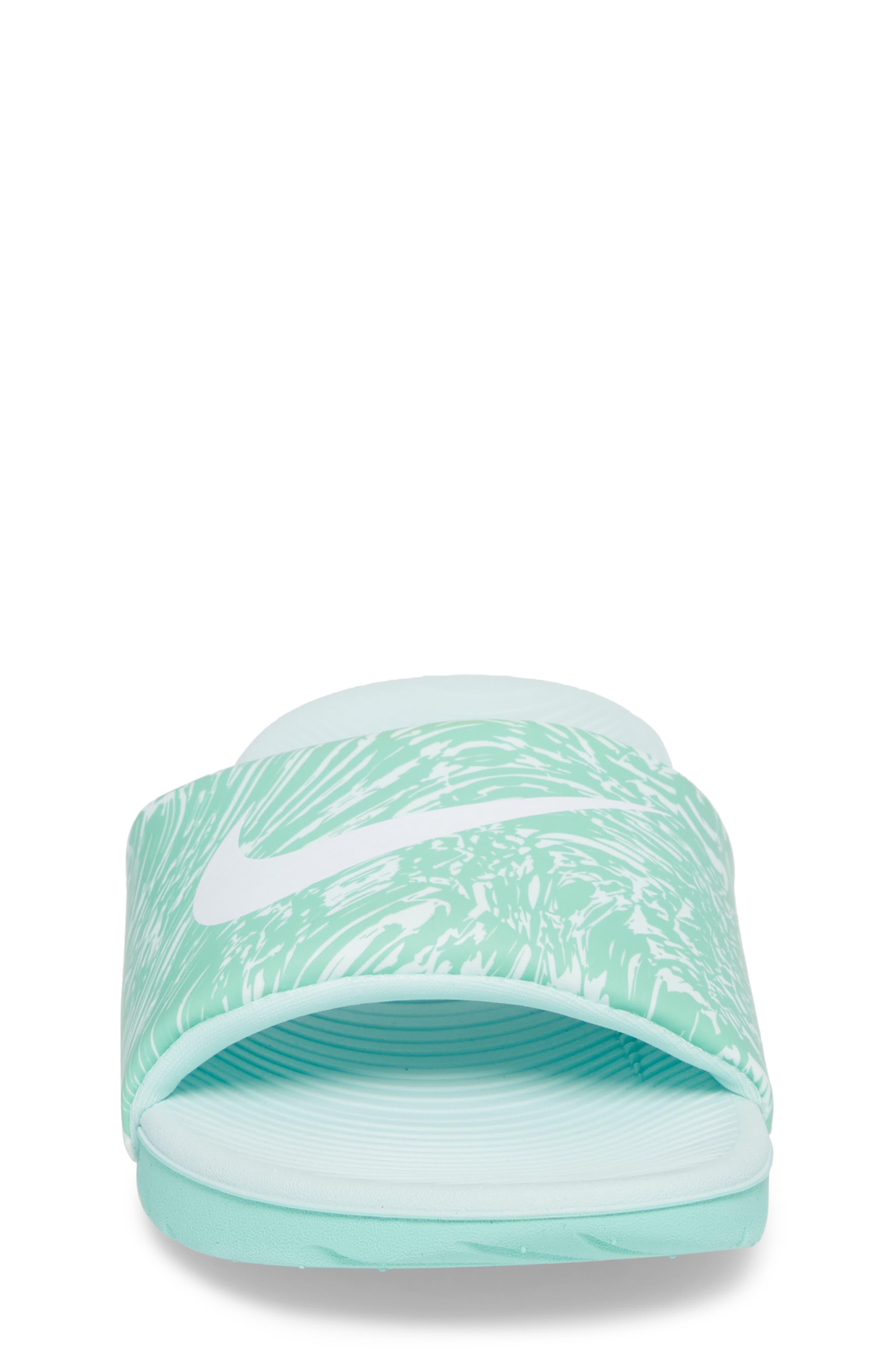 'Kawa' Print Slide Sandal,                             Alternate thumbnail 4, color,                             Emerald Rise/ White/ Igloo