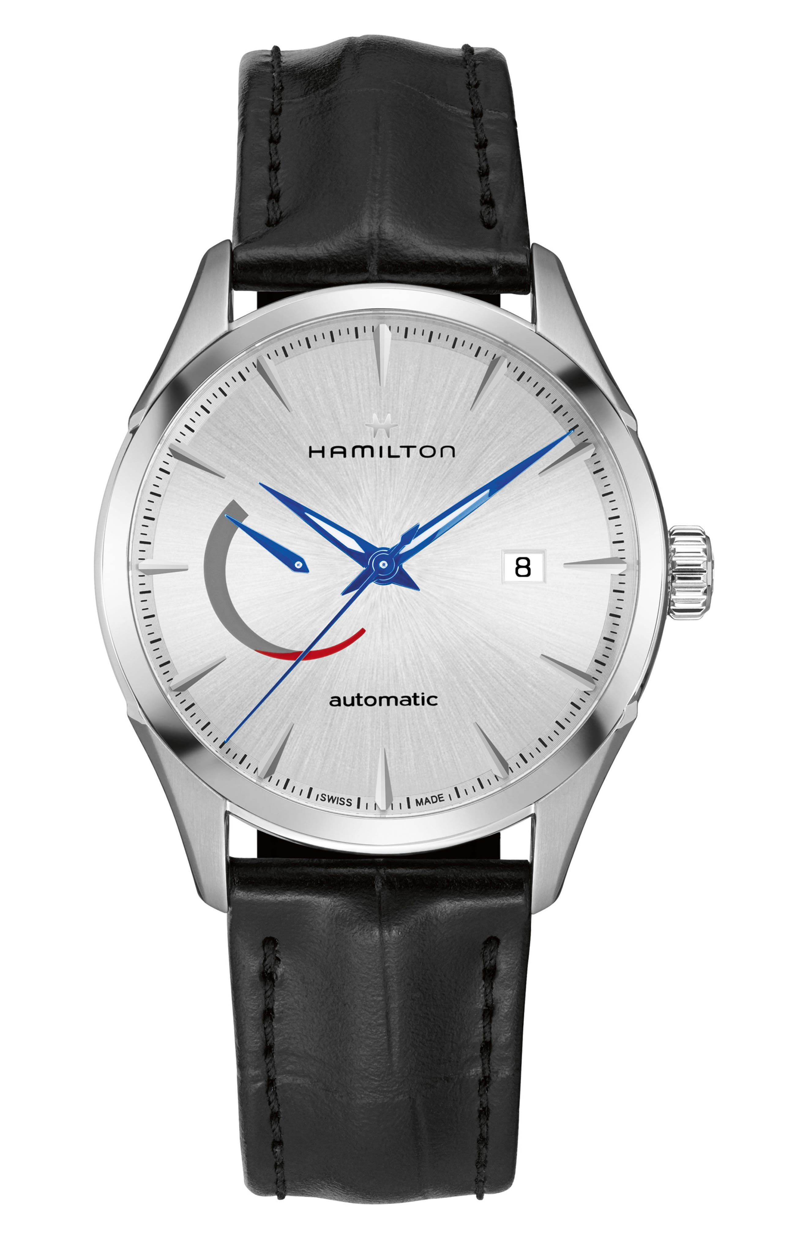 JAZZMASTER AUTOMATIC LEATHER STRAP WATCH, 42MM