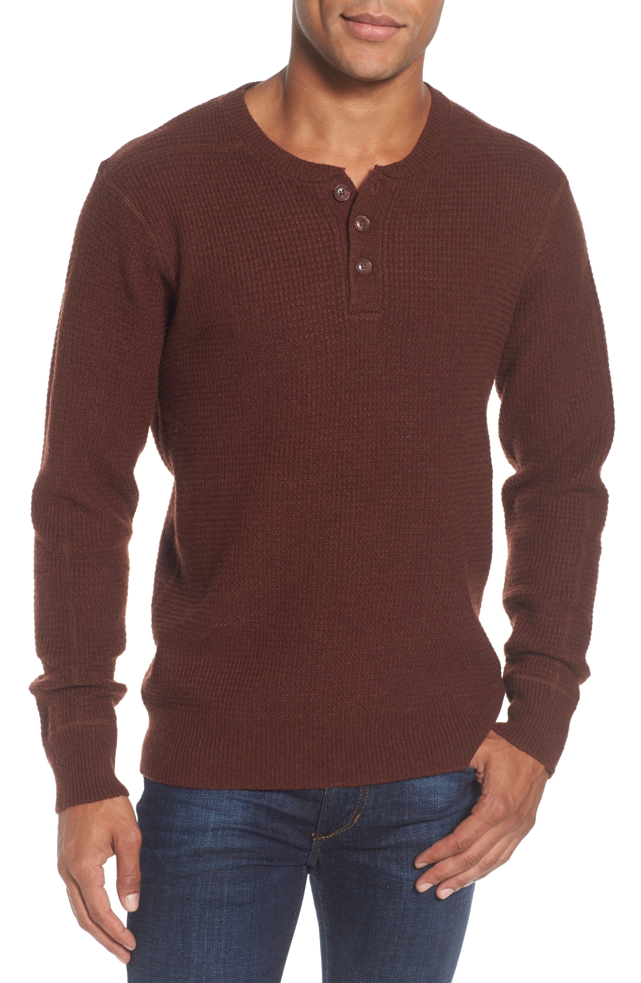 Thermal Henley,                             Main thumbnail 1, color,                             Burgundy