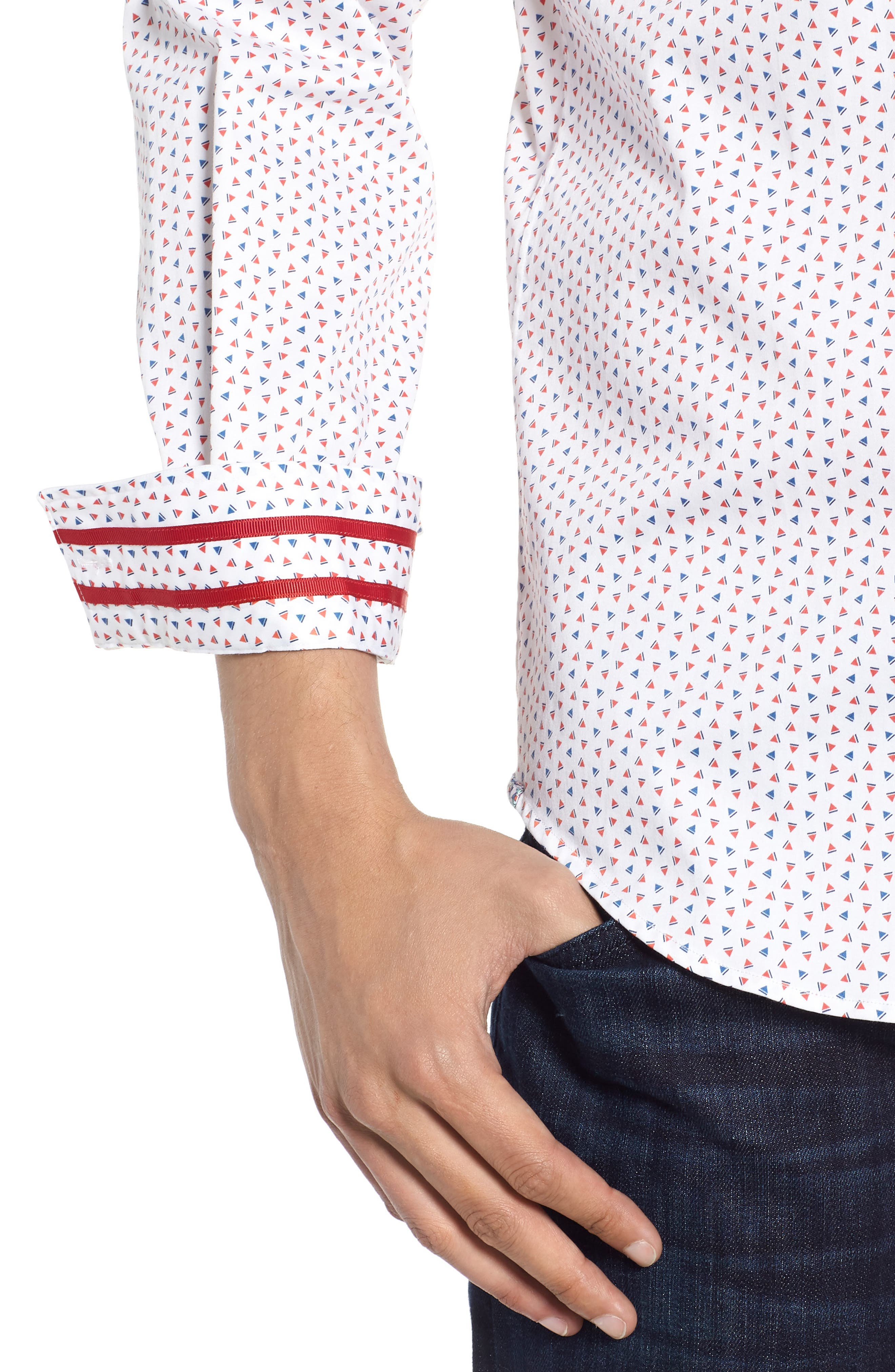 Mitchel Tailored Fit Sport Shirt,                             Alternate thumbnail 2, color,                             Red