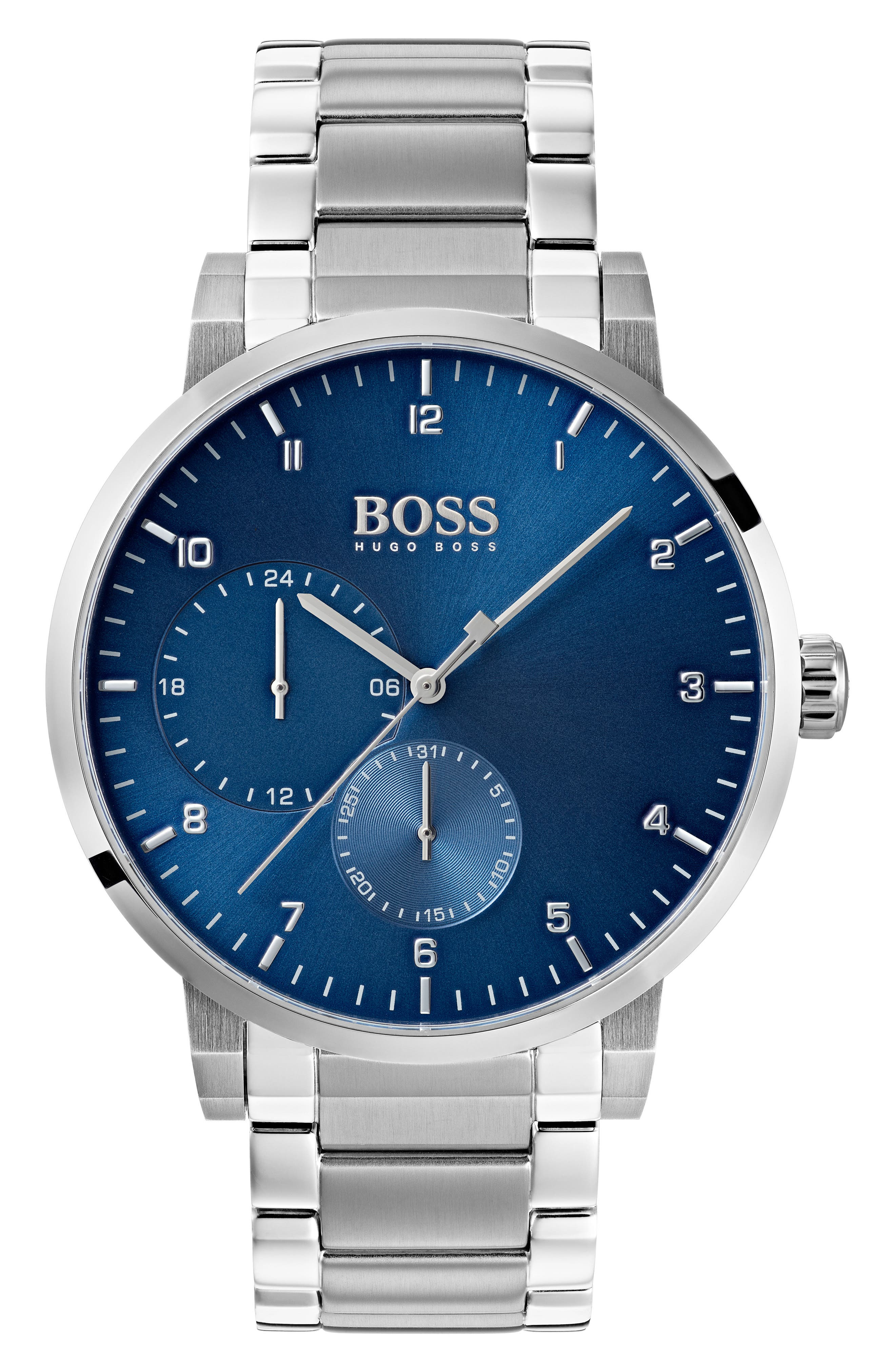 Oxygen Chronograph Bracelet Watch, 42mm,                             Main thumbnail 1, color,                             Blue/ Stainless