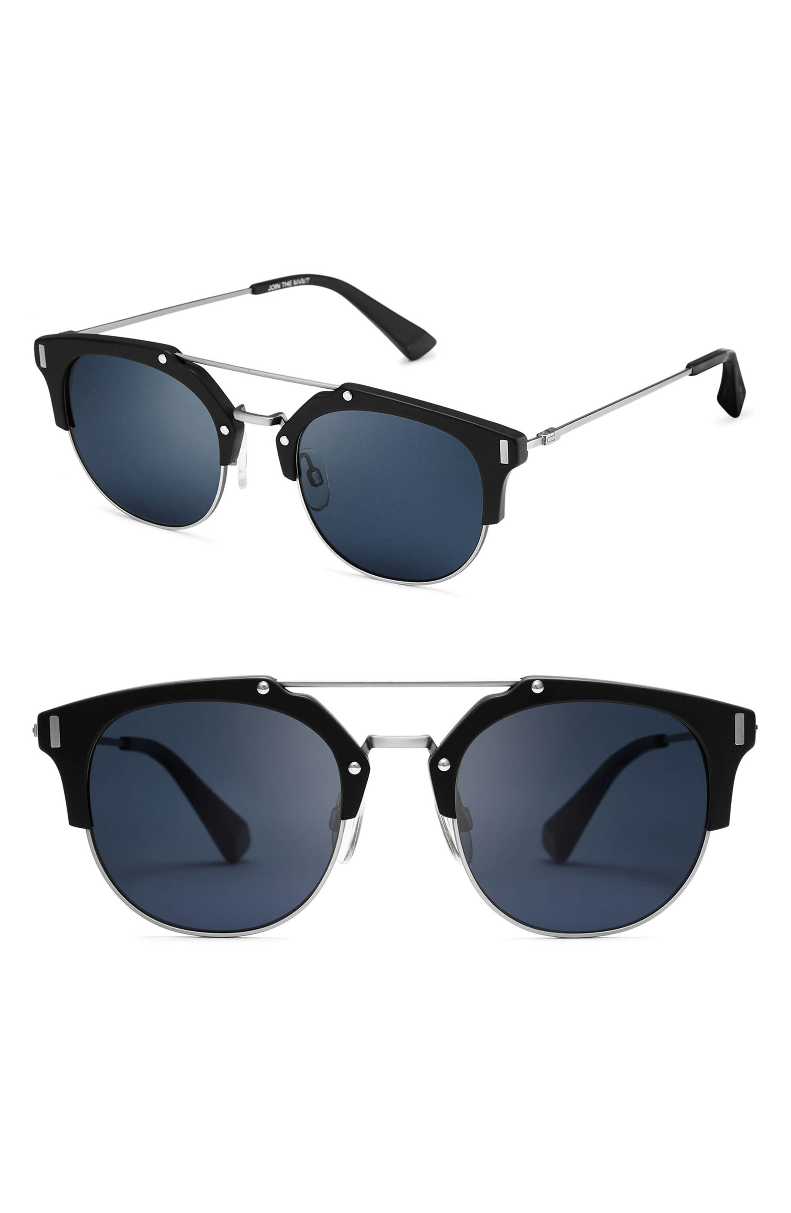Weekend 51mm Polarized Sunglasses,                             Main thumbnail 1, color,                             Matte Black