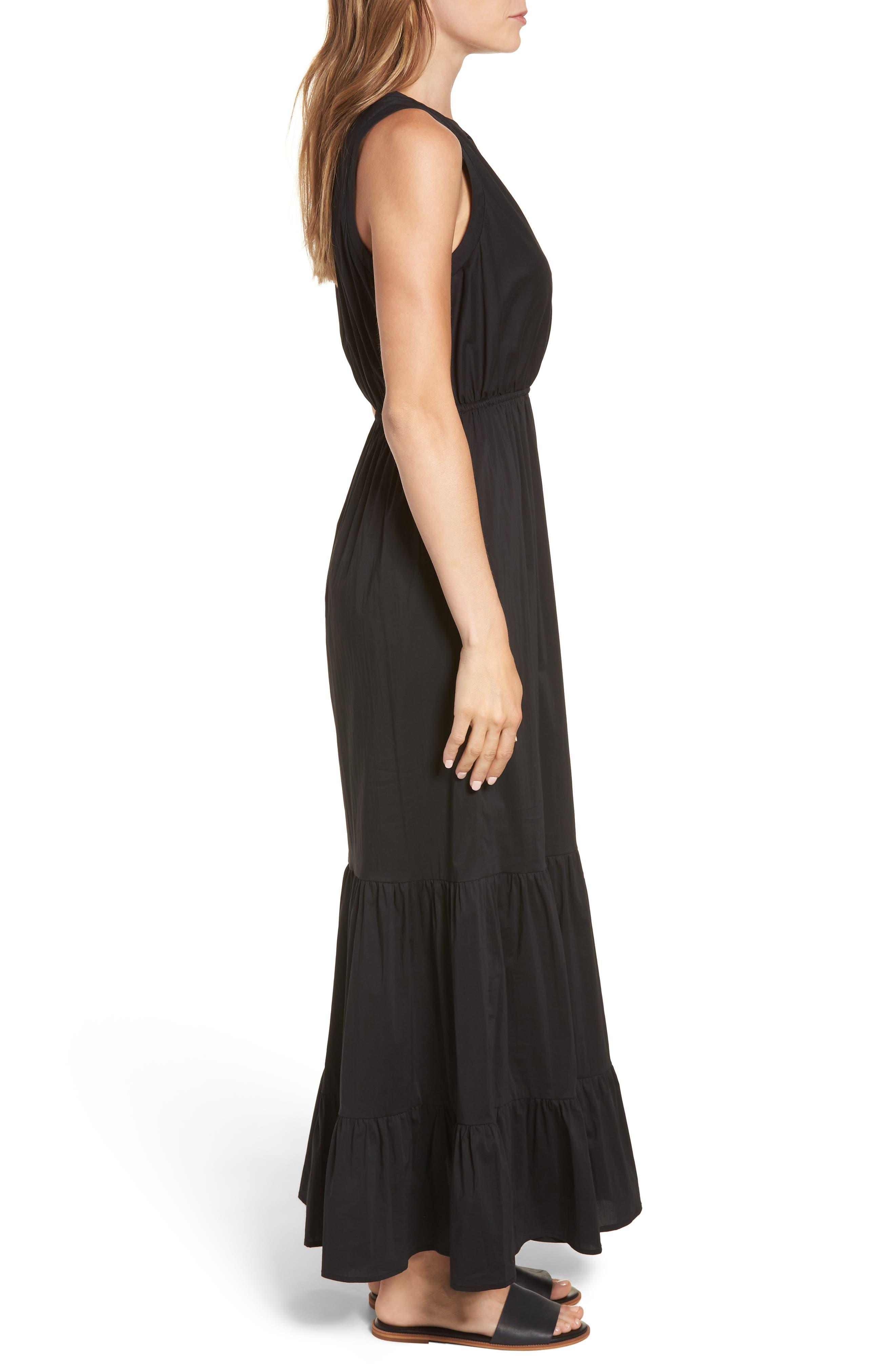 Tiered Maxi Dress,                             Alternate thumbnail 3, color,                             Black Solid Poplin