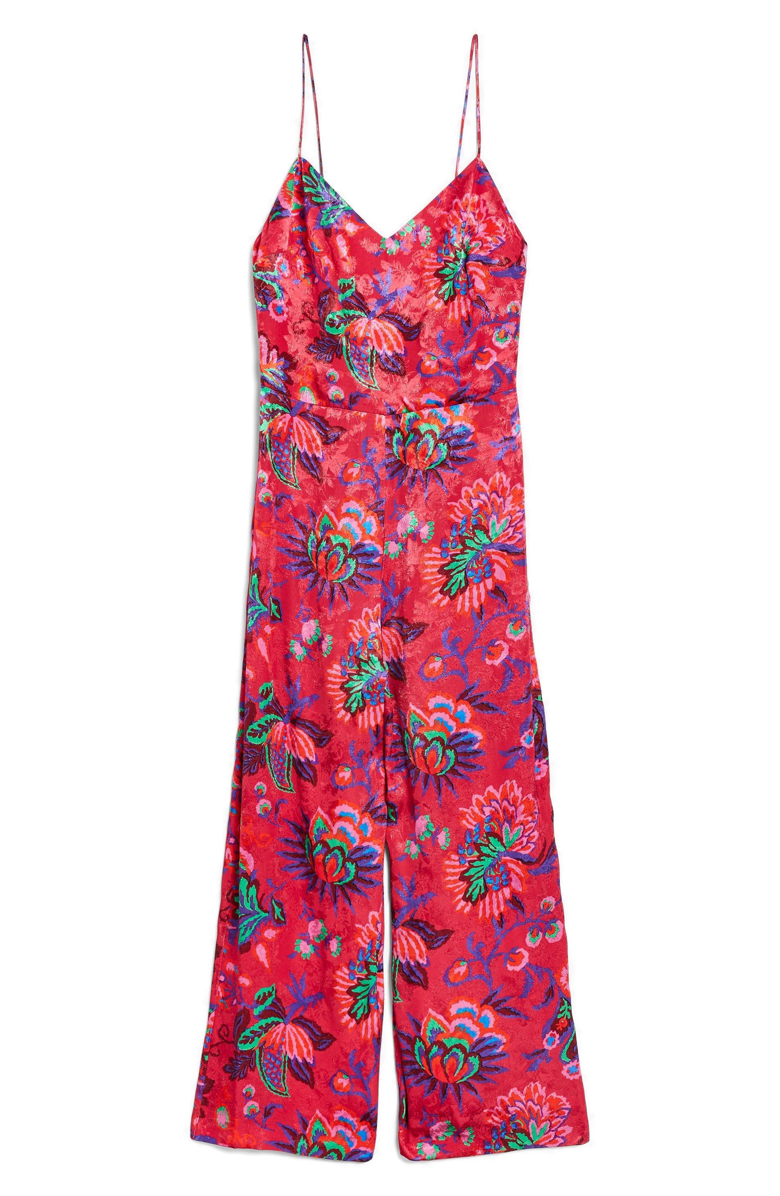 Sleeveless Floral Jumpsuit,                             Alternate thumbnail 6, color,                             Pink Multi