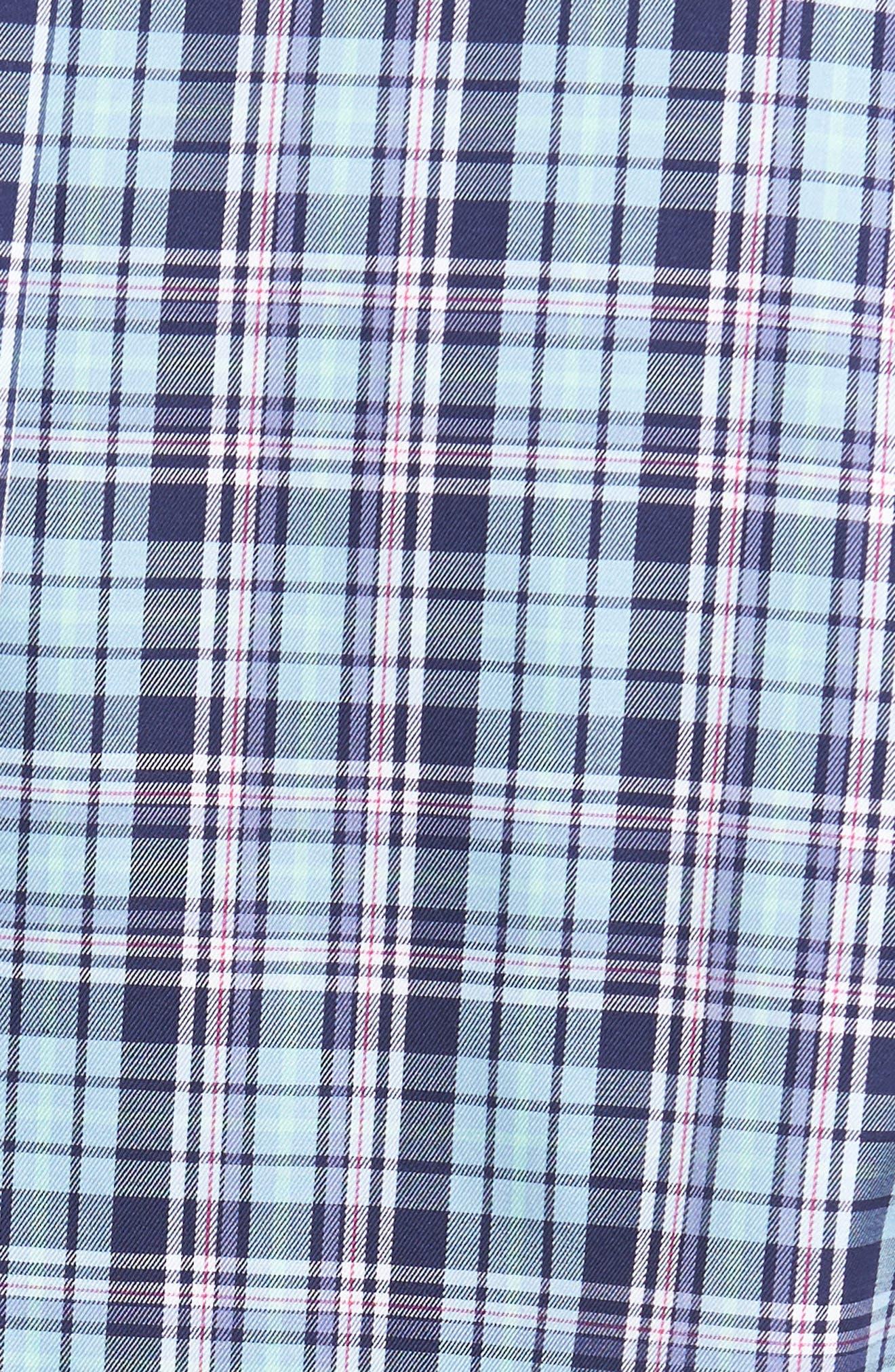 Crown Ease Laguna Plaid Sport Shirt,                             Alternate thumbnail 5, color,                             Tar Heel Blue
