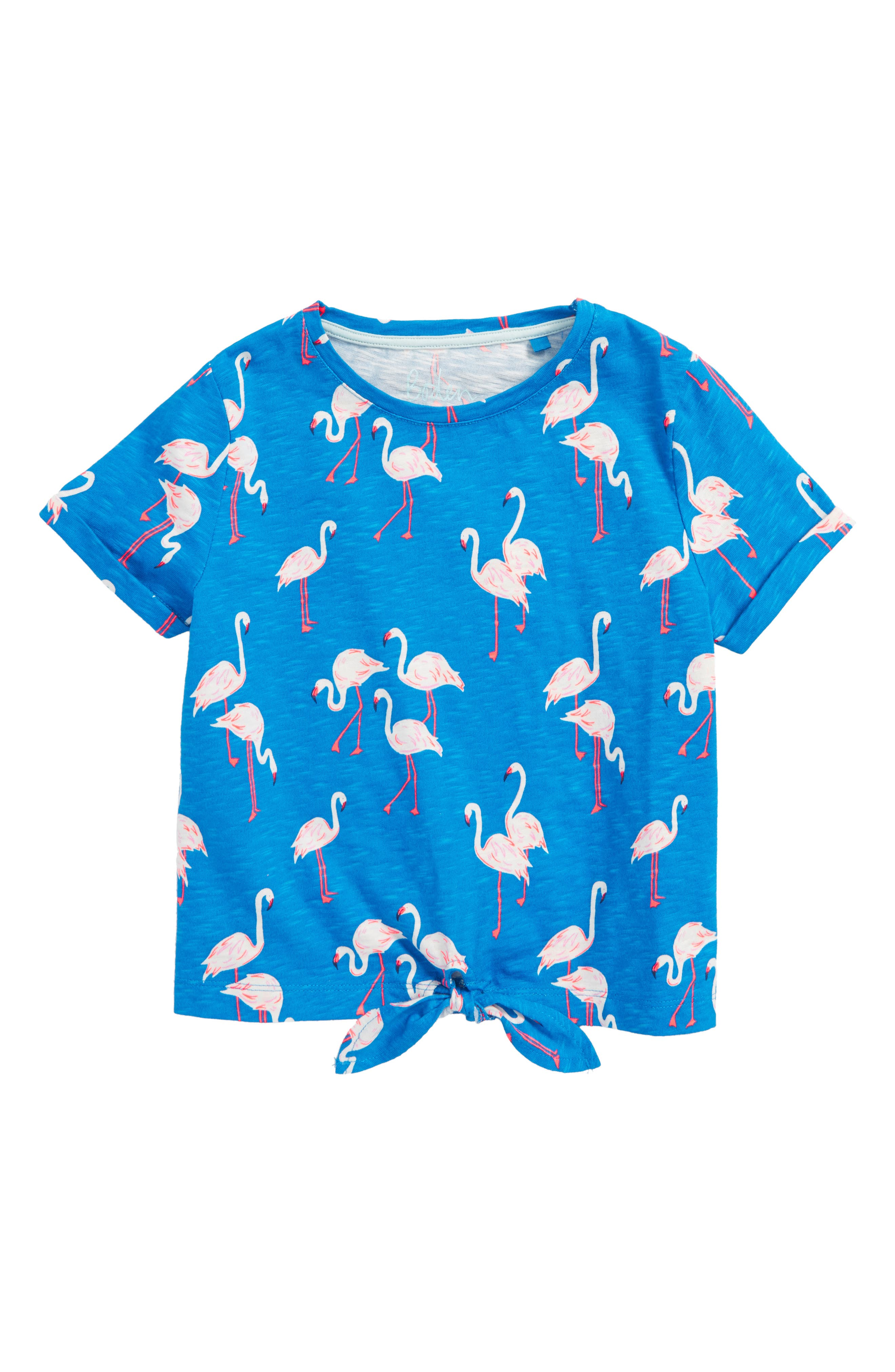 Tie Front Tee,                             Main thumbnail 1, color,                             Blue Flamingos