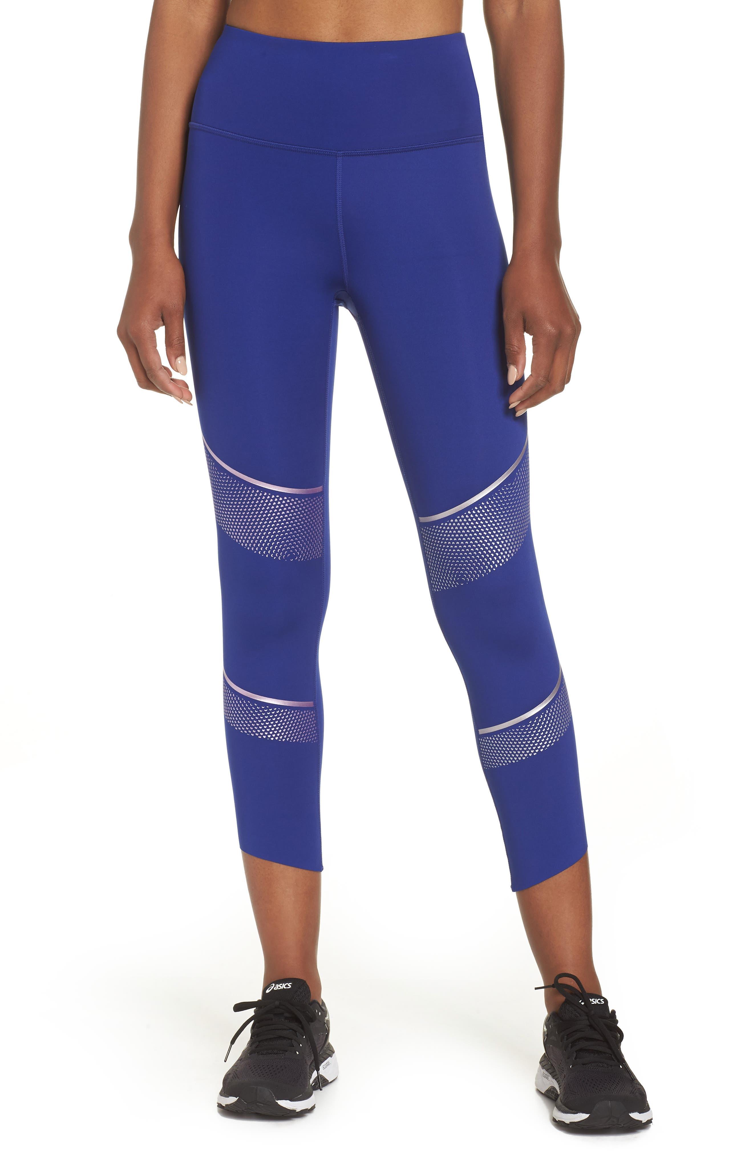 Breathelux Metallic Crop Studio Leggings,                         Main,                         color, Formation Blue
