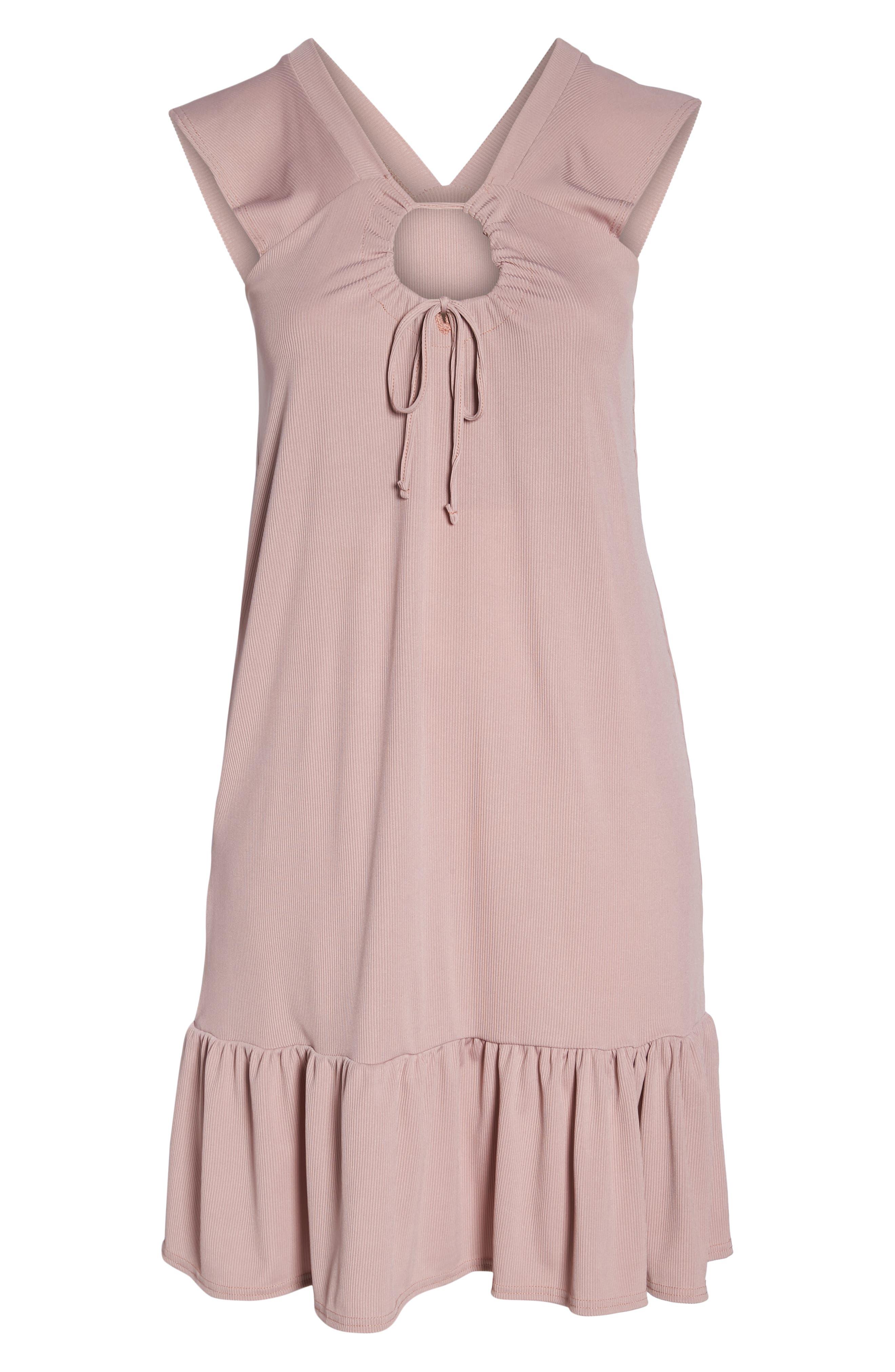 Rib Knit Swing Dress,                             Alternate thumbnail 7, color,                             Light Purple
