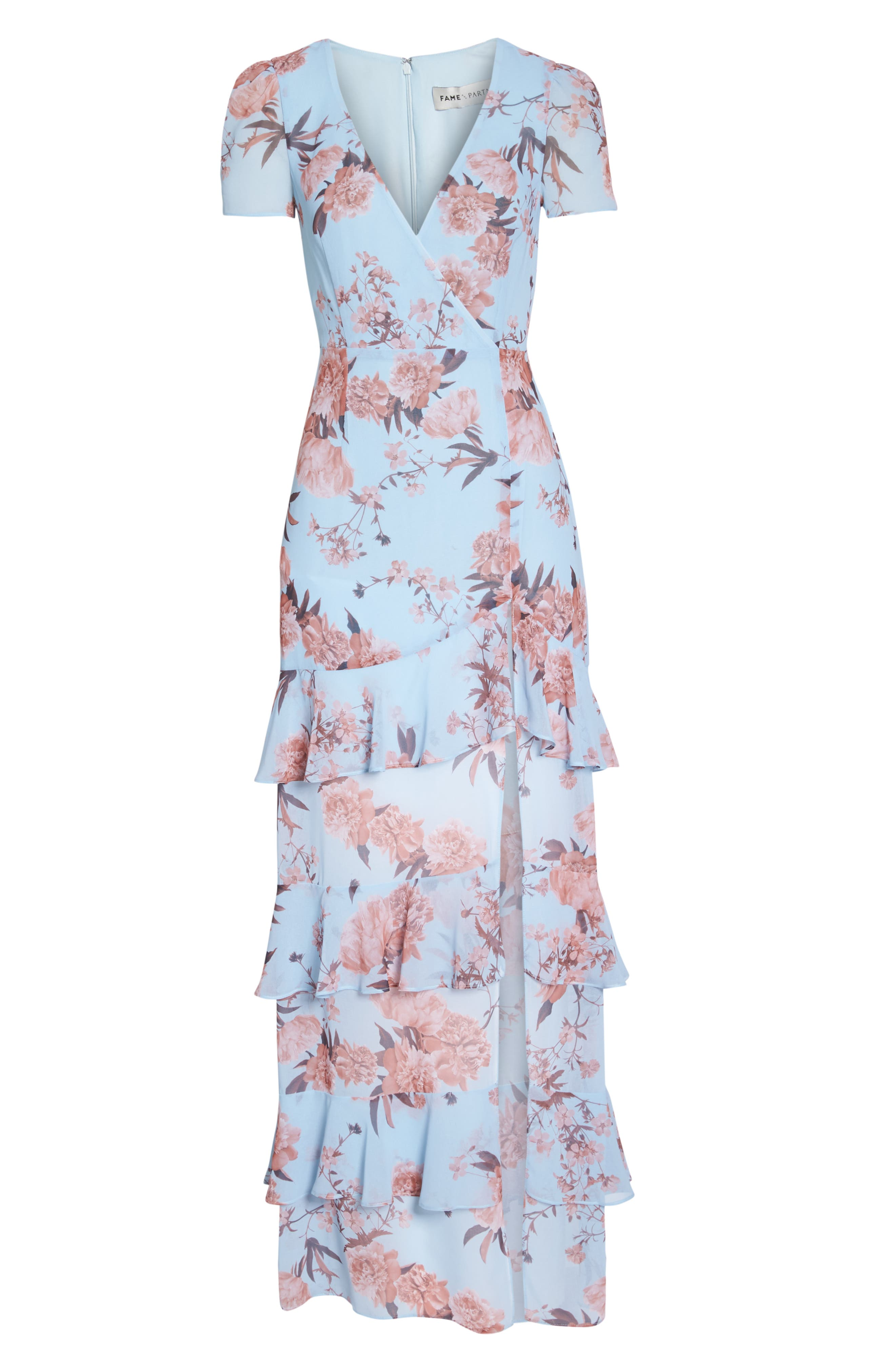 The Pearl Tiered Ruffle Georgette Gown,                             Alternate thumbnail 6, color,                             Sky Blossom Floral