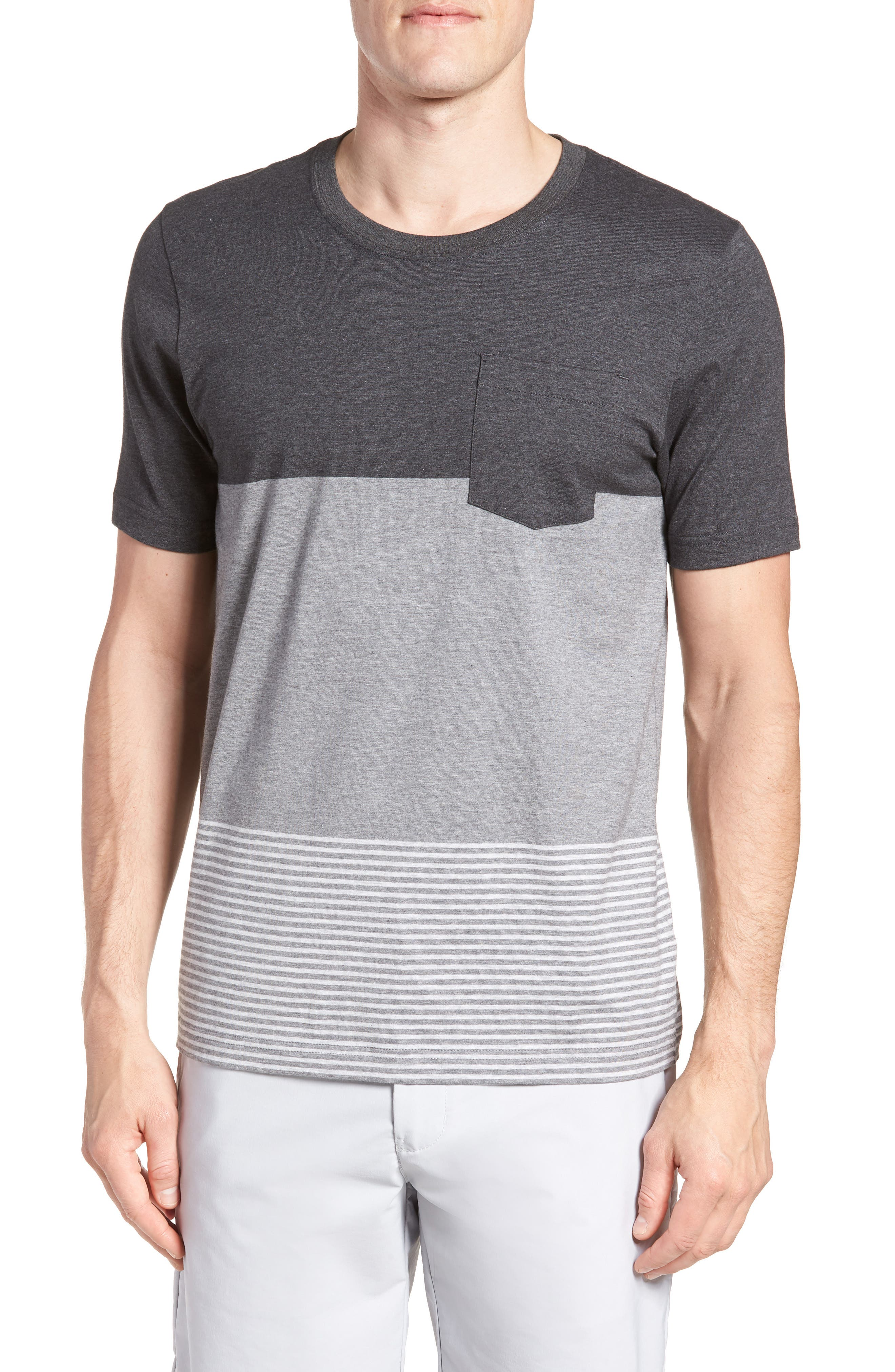 Kramp Colorblock Pocket T-Shirt,                             Main thumbnail 1, color,                             Heather Grey Pinstripe