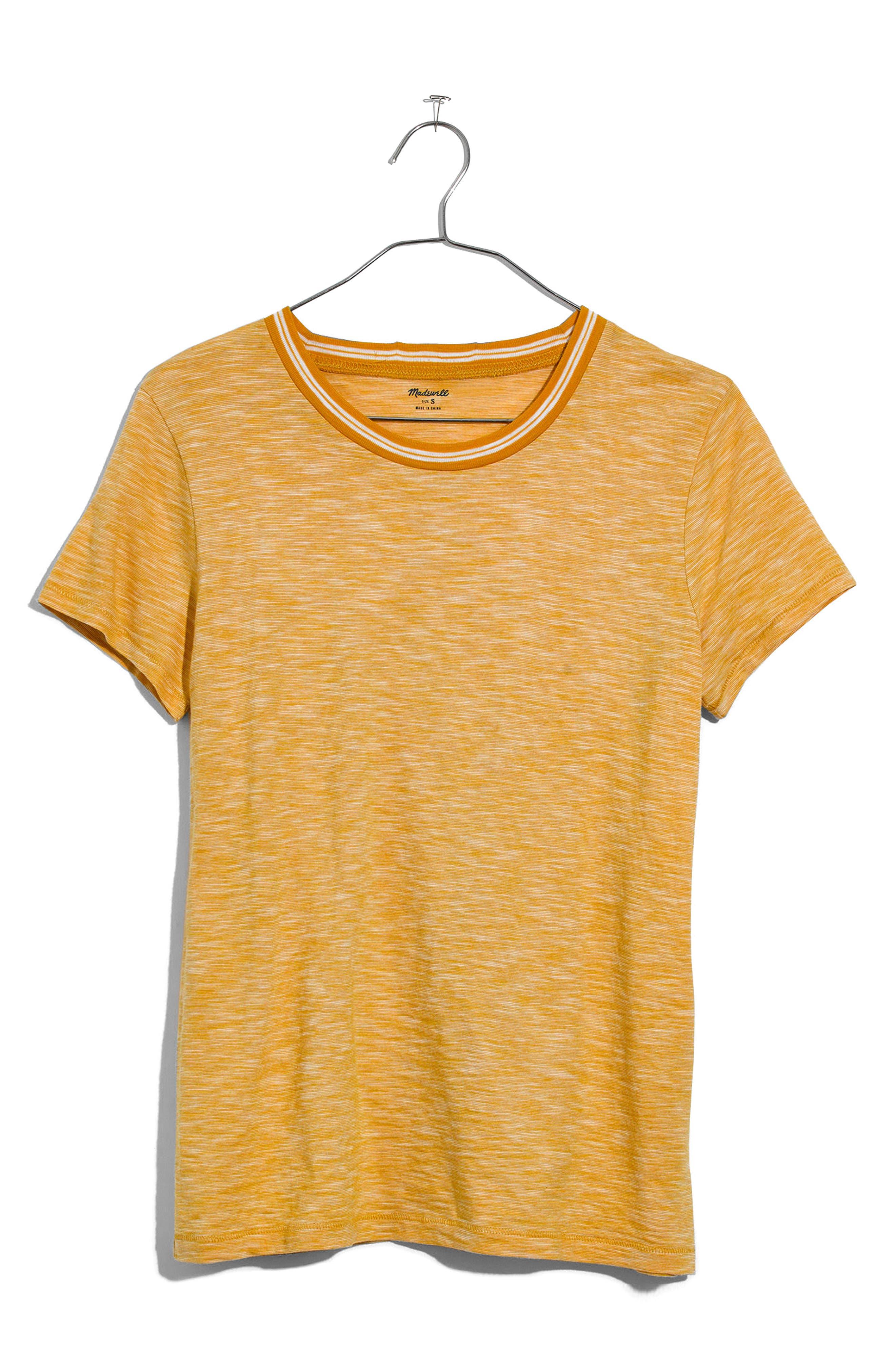 Whisper Cotton Stripe Ringer Tee,                             Alternate thumbnail 3, color,                             Golden Apple