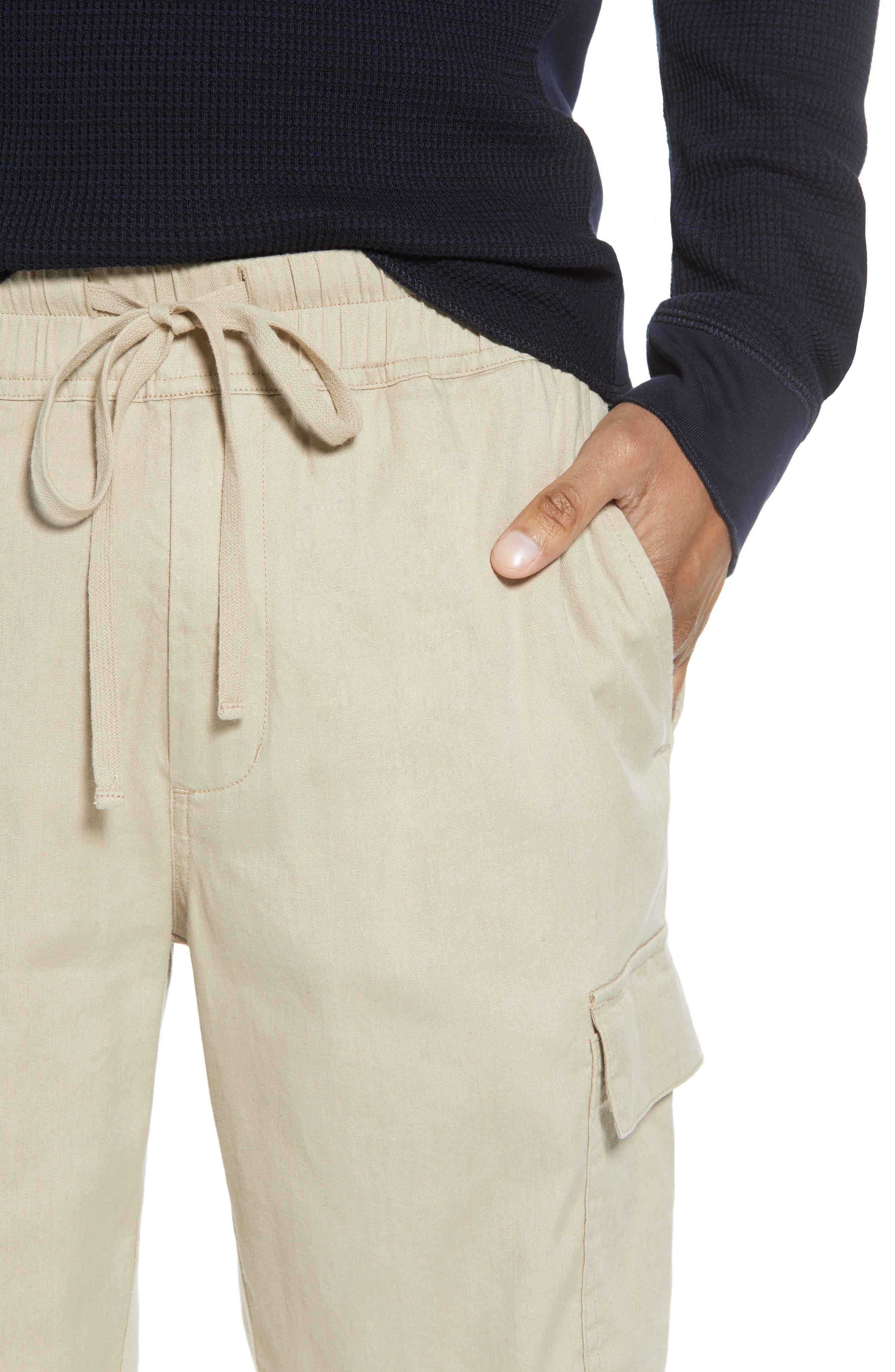 Stretch Linen & Cotton Cargo Shorts,                             Alternate thumbnail 4, color,                             Flax