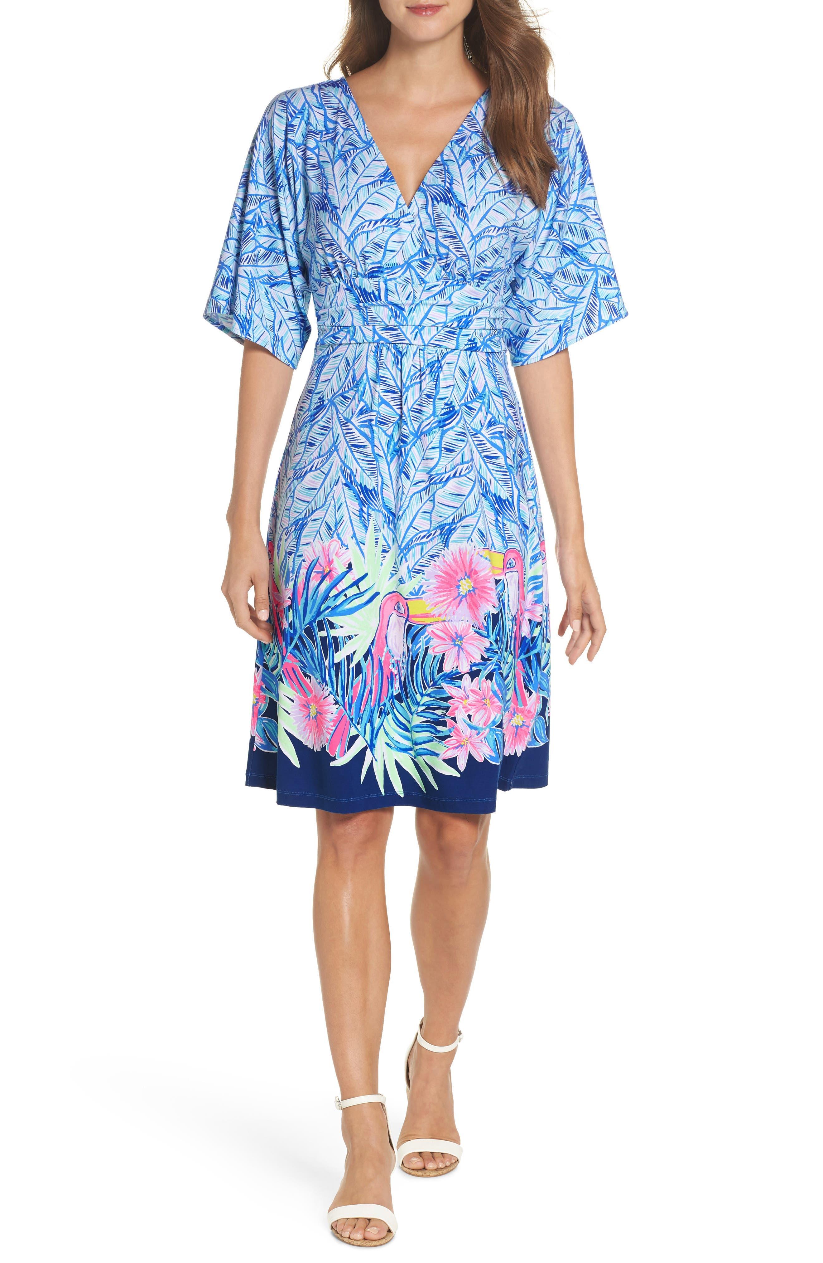 Parigi Print Dress,                         Main,                         color, Bennet Blue Lets Mango