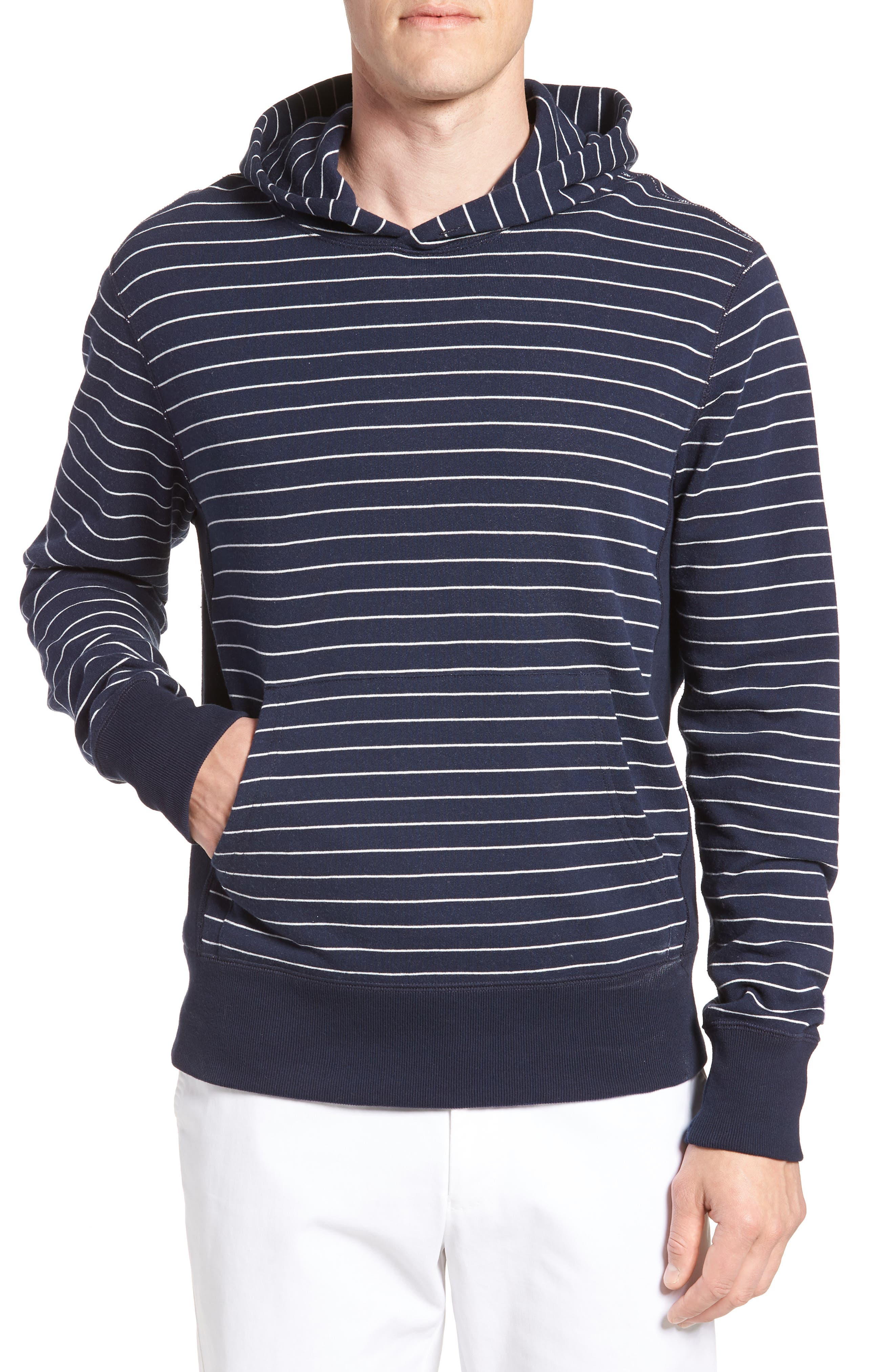 + Champion Stripe Pullover Hoodie,                             Main thumbnail 1, color,                             Navy