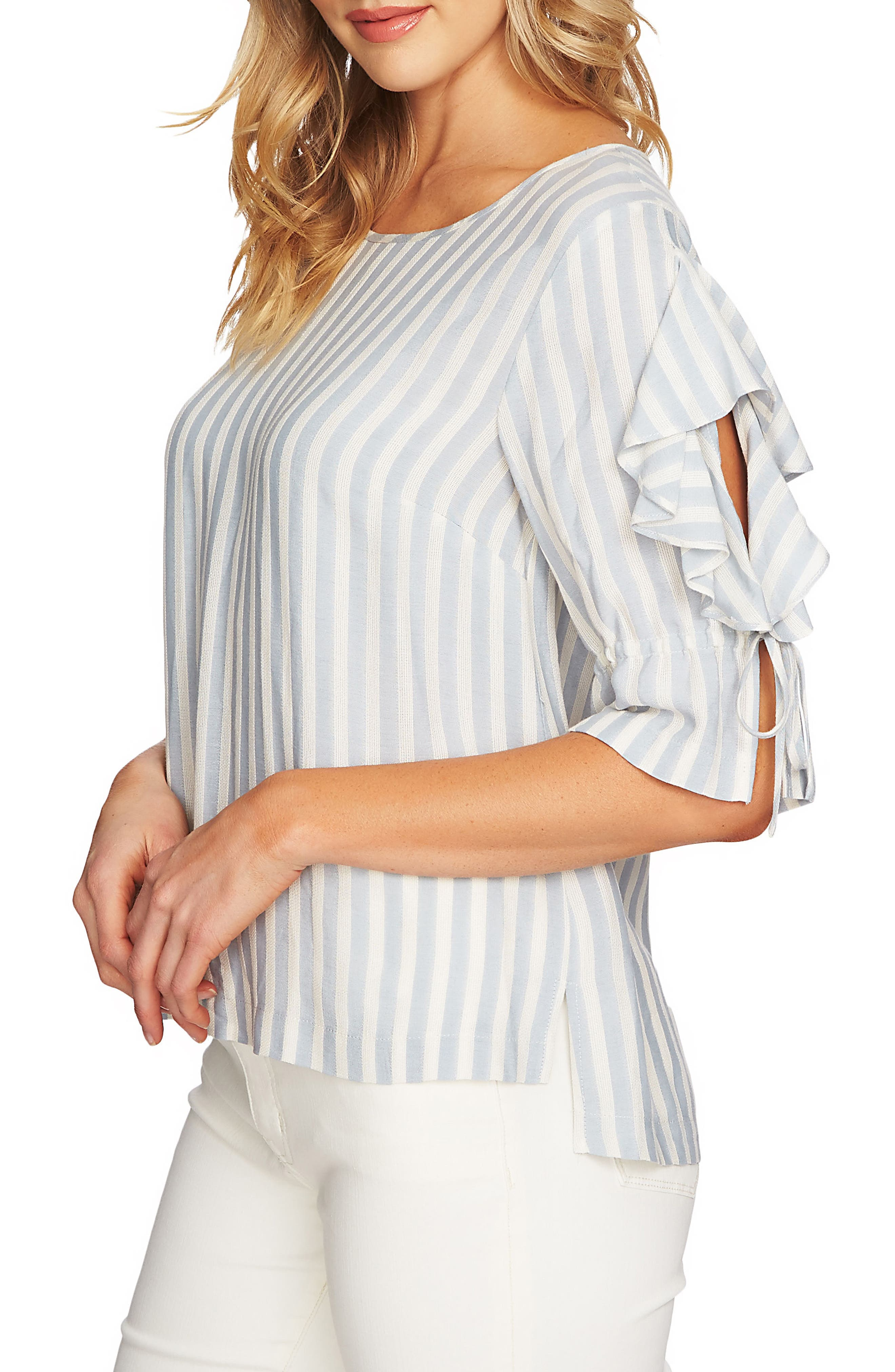 Ruffle Sleeve Stripe Top,                             Alternate thumbnail 3, color,                             Wind Surf