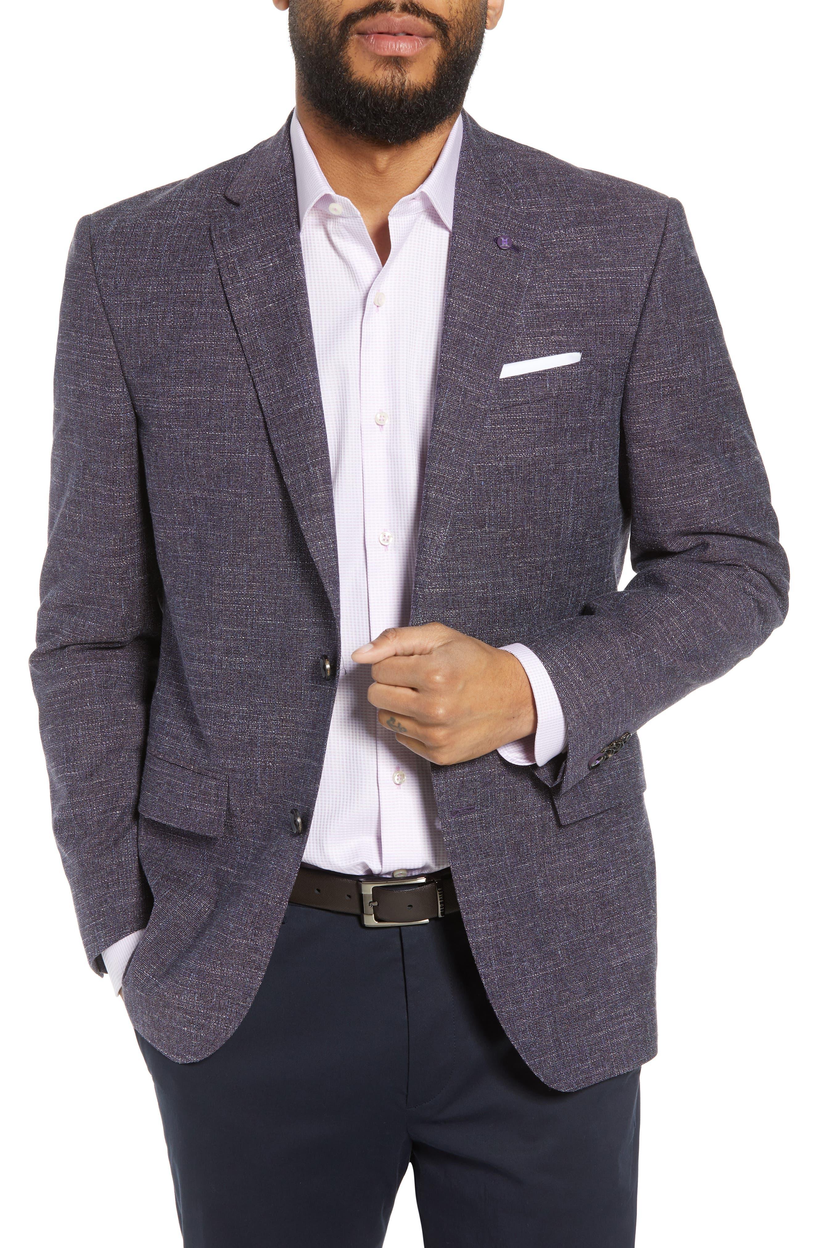 Jay Trim Fit Slubbed Wool, Cotton & Linen Sport Coat,                         Main,                         color, Plum