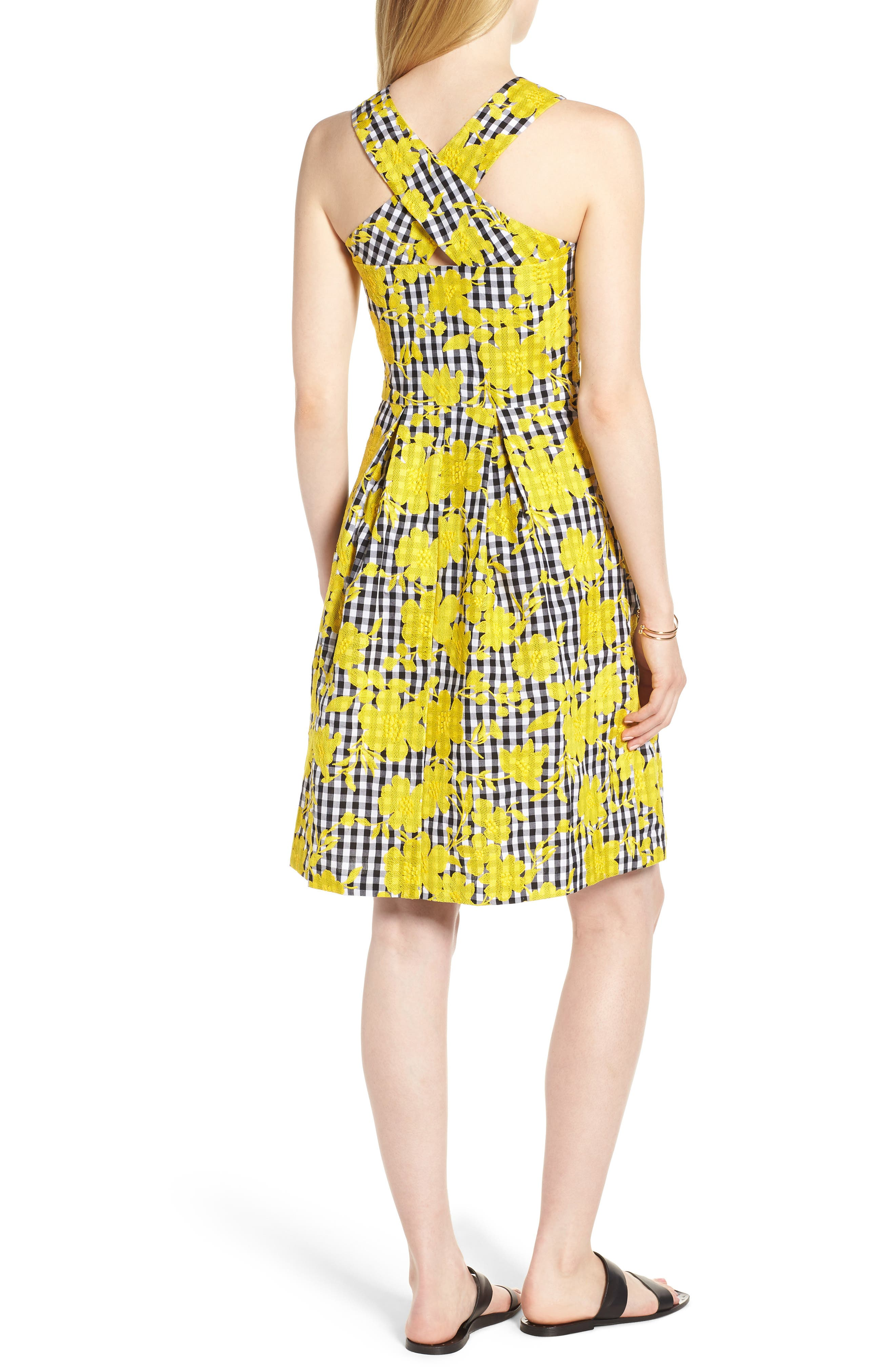 Embroidered Cross Back Cotton Gingham Dress,                             Alternate thumbnail 2, color,                             Yellow- Black Gingham