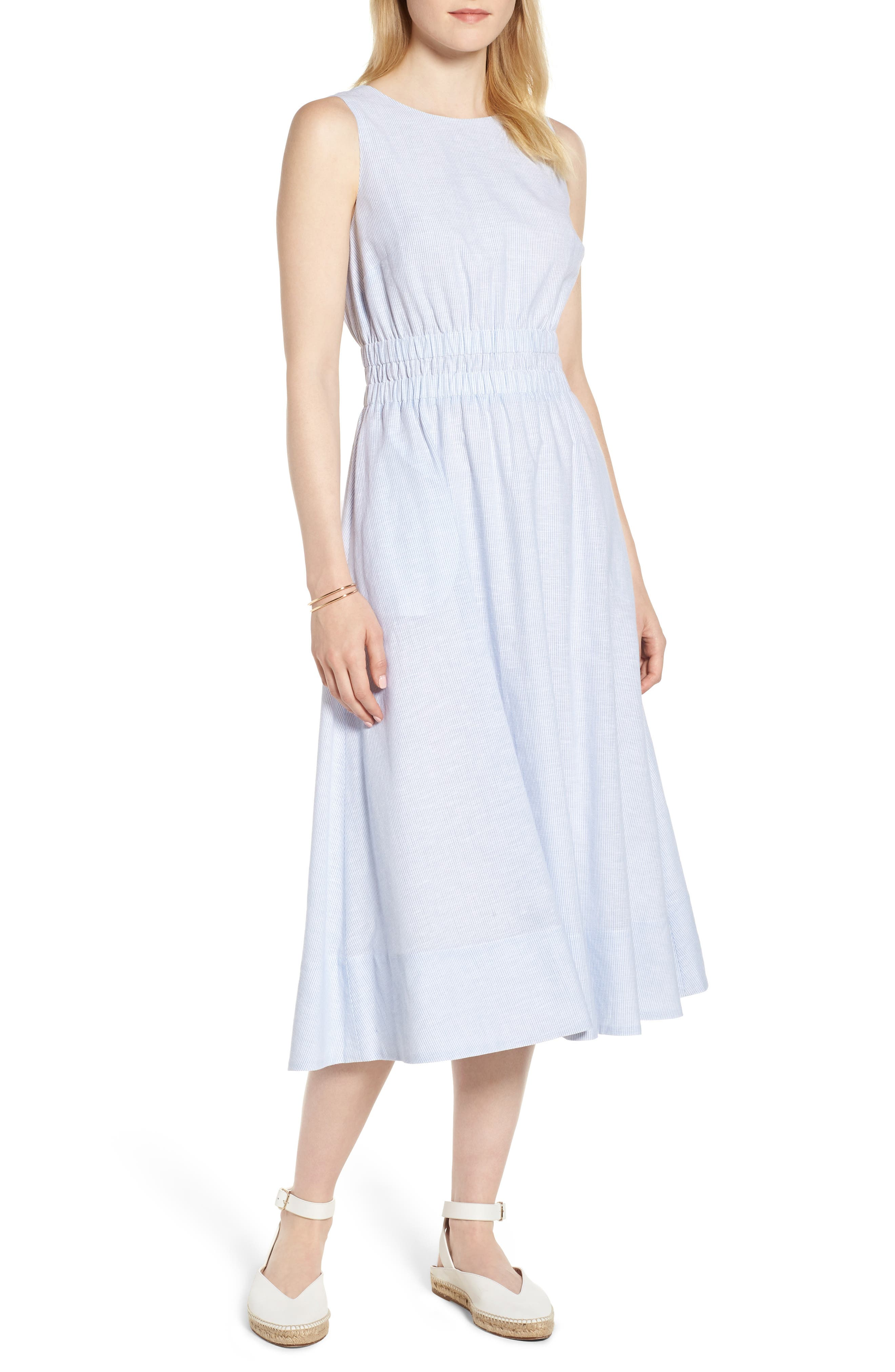 Smocked Waist Pinstripe Midi Dress,                         Main,                         color, White- Blue Mini Stripe