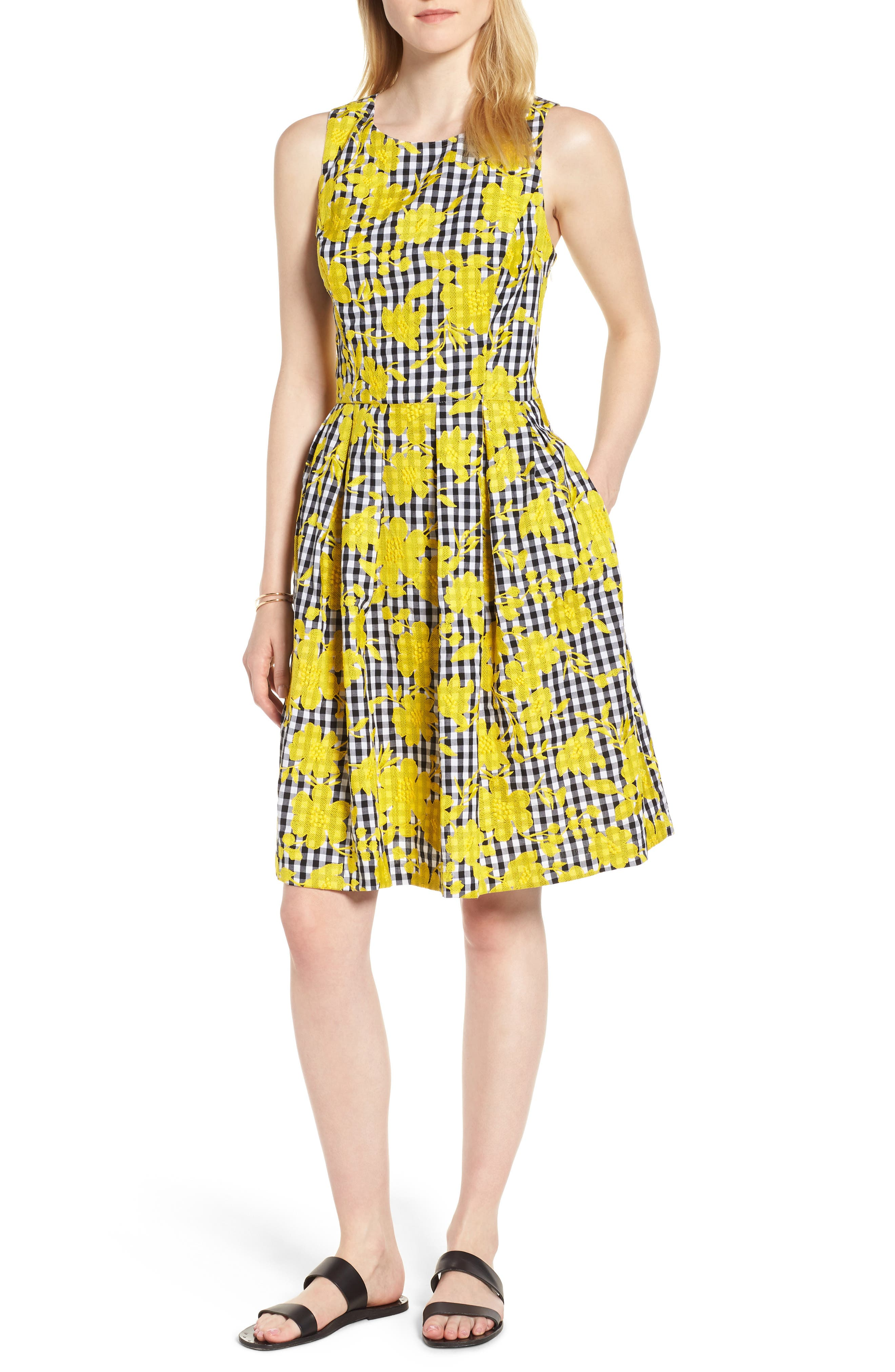 Embroidered Cross Back Cotton Gingham Dress,                             Main thumbnail 1, color,                             Yellow- Black Gingham