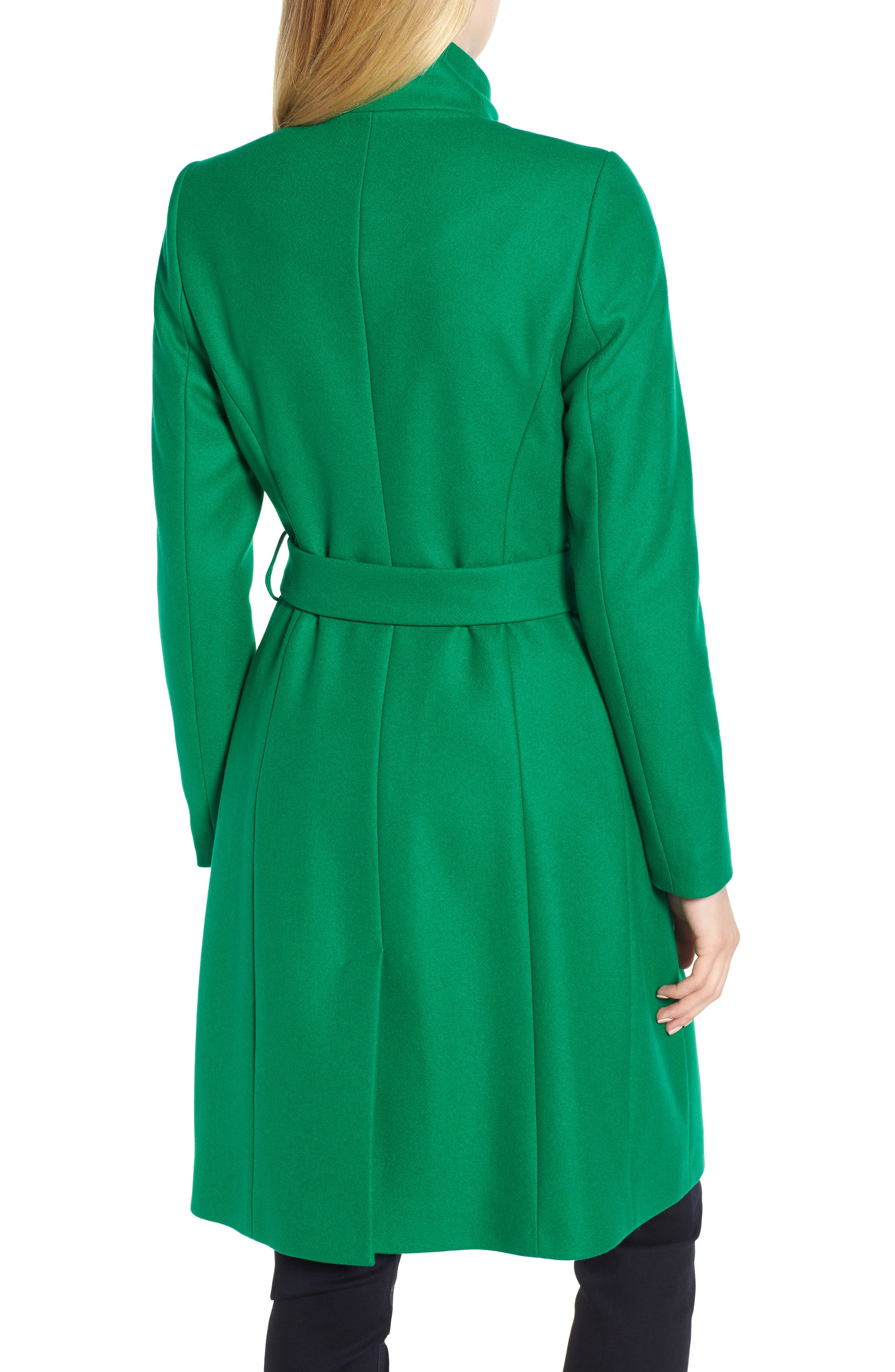 Wool Blend Long Wrap Coat,                             Alternate thumbnail 2, color,                             Bright Green